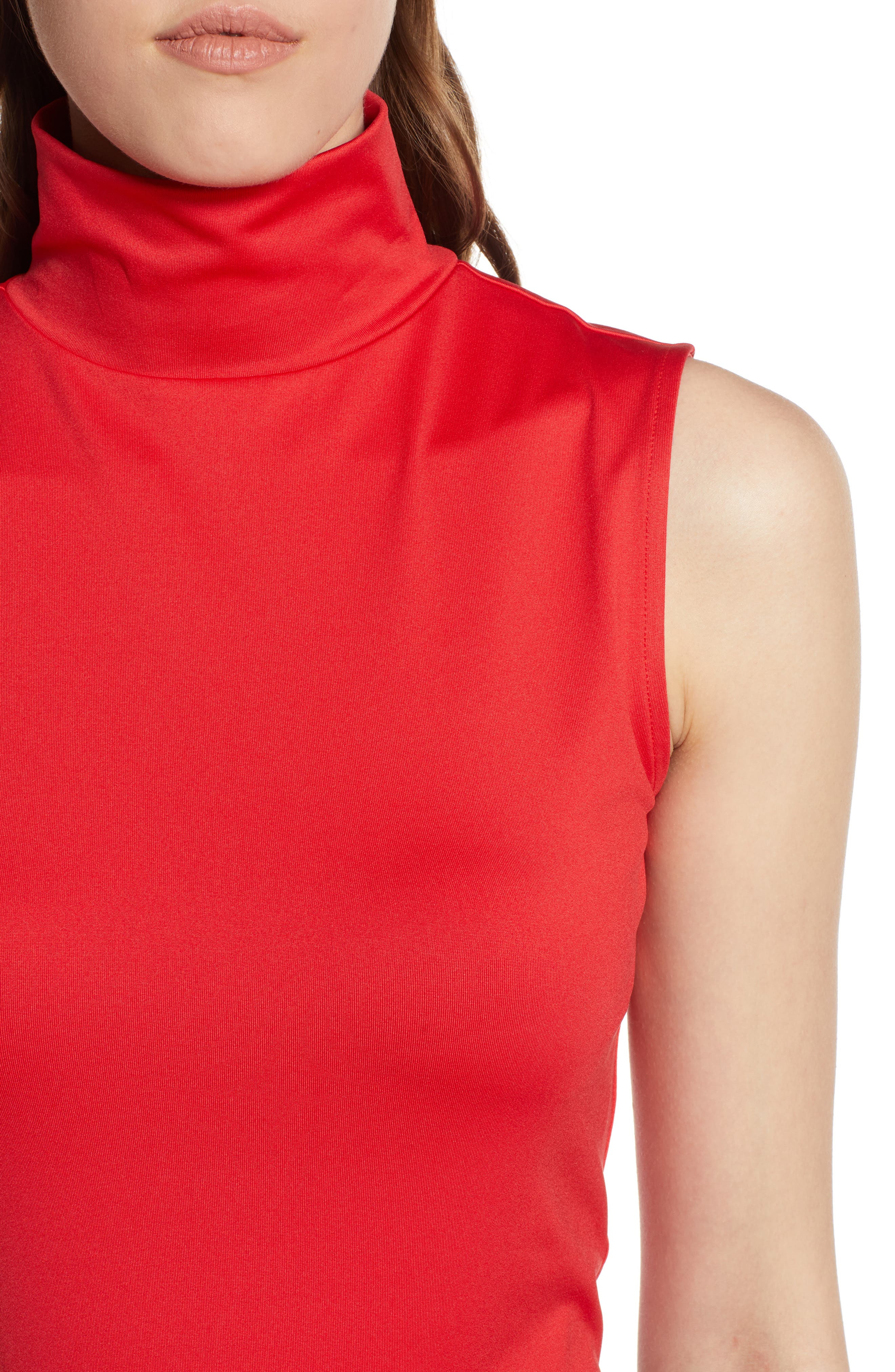 HALOGEN<SUP>®</SUP>,                             Mock Neck Shell Top,                             Alternate thumbnail 4, color,                             RED CHINOISE