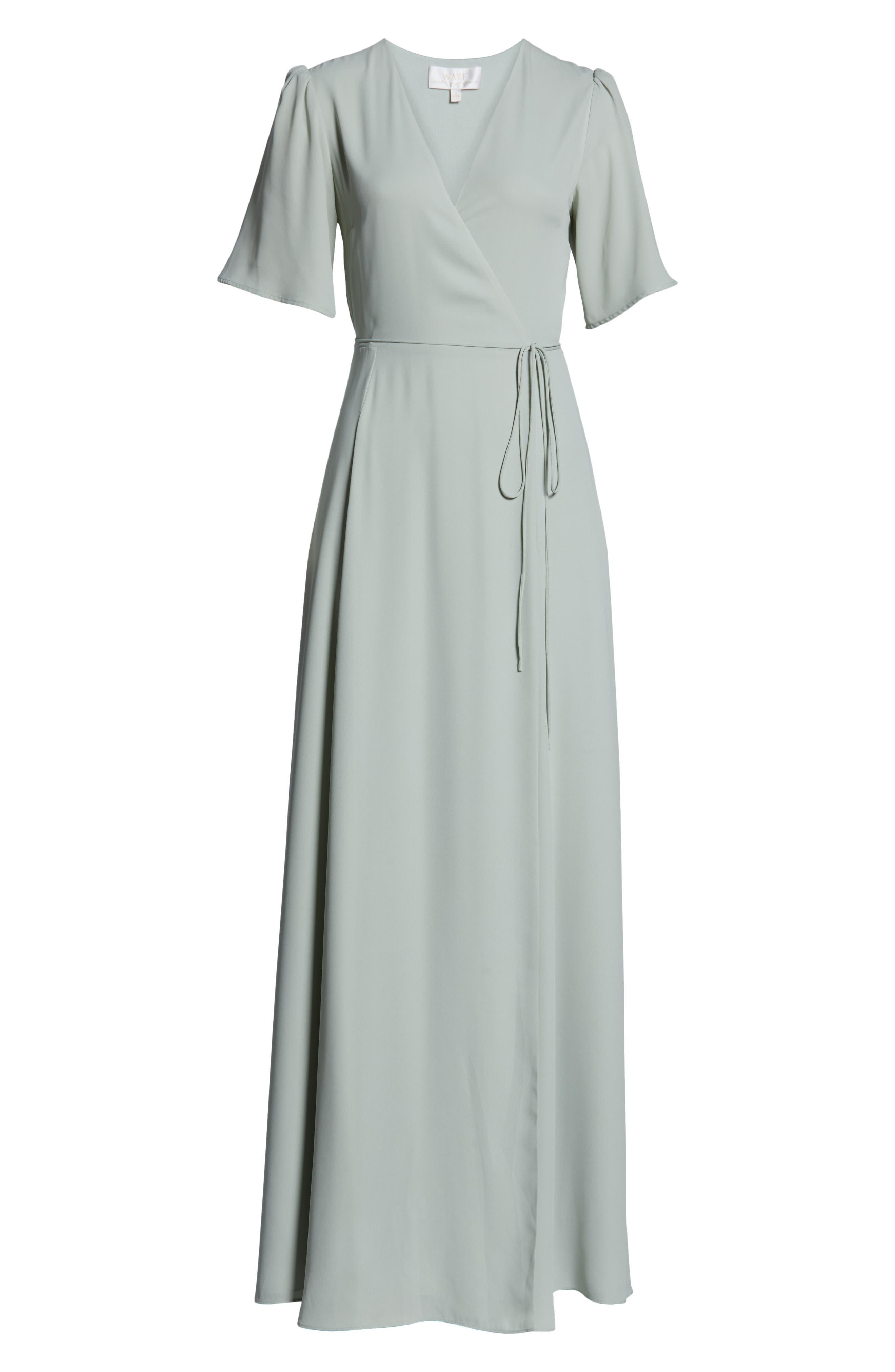 WAYF,                             The Aurelia Short Sleeve Wrap Evening Dress,                             Alternate thumbnail 7, color,                             SAGE
