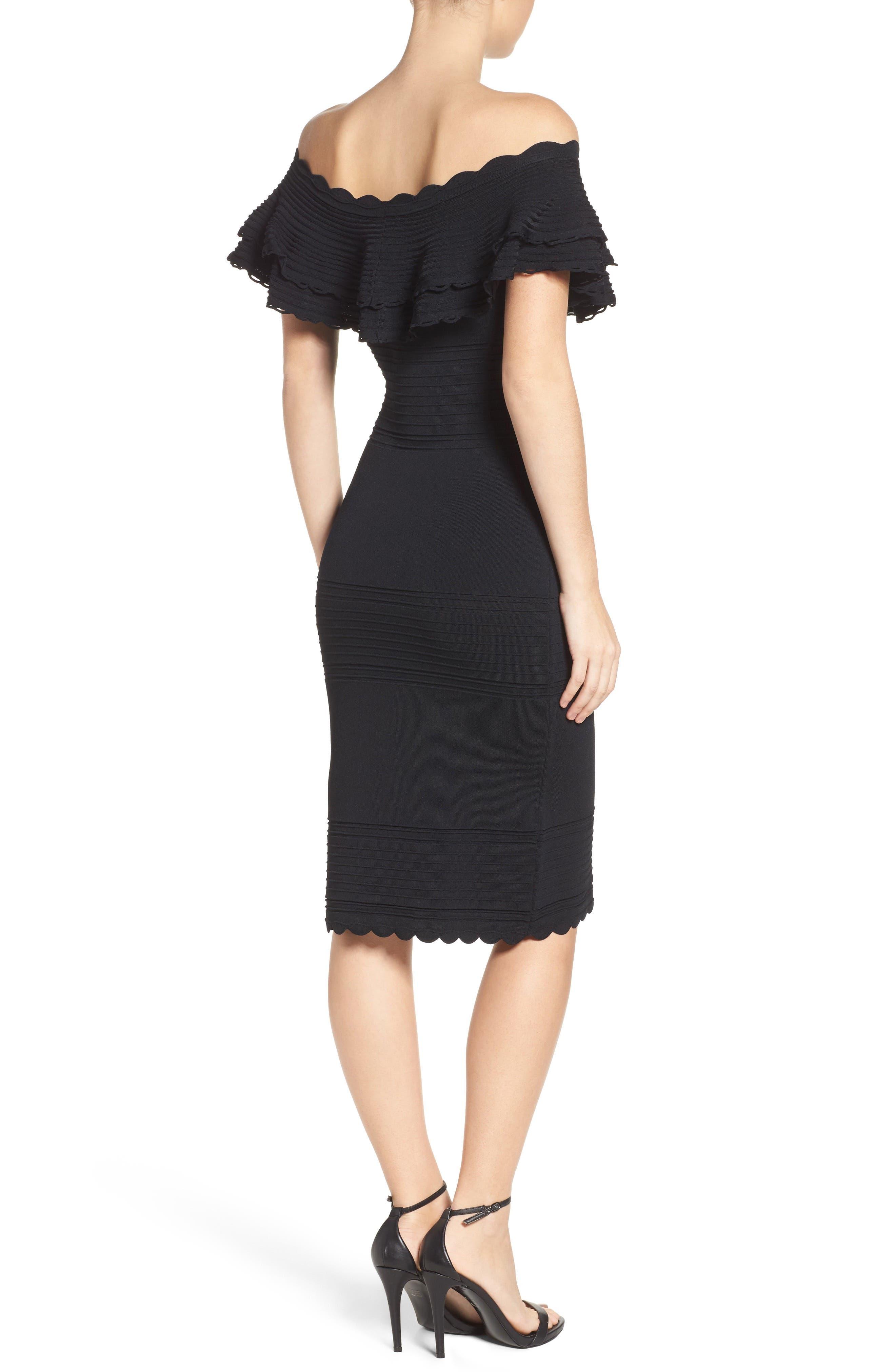 Off the Shoulder Sheath Dress,                             Alternate thumbnail 2, color,                             BLACK