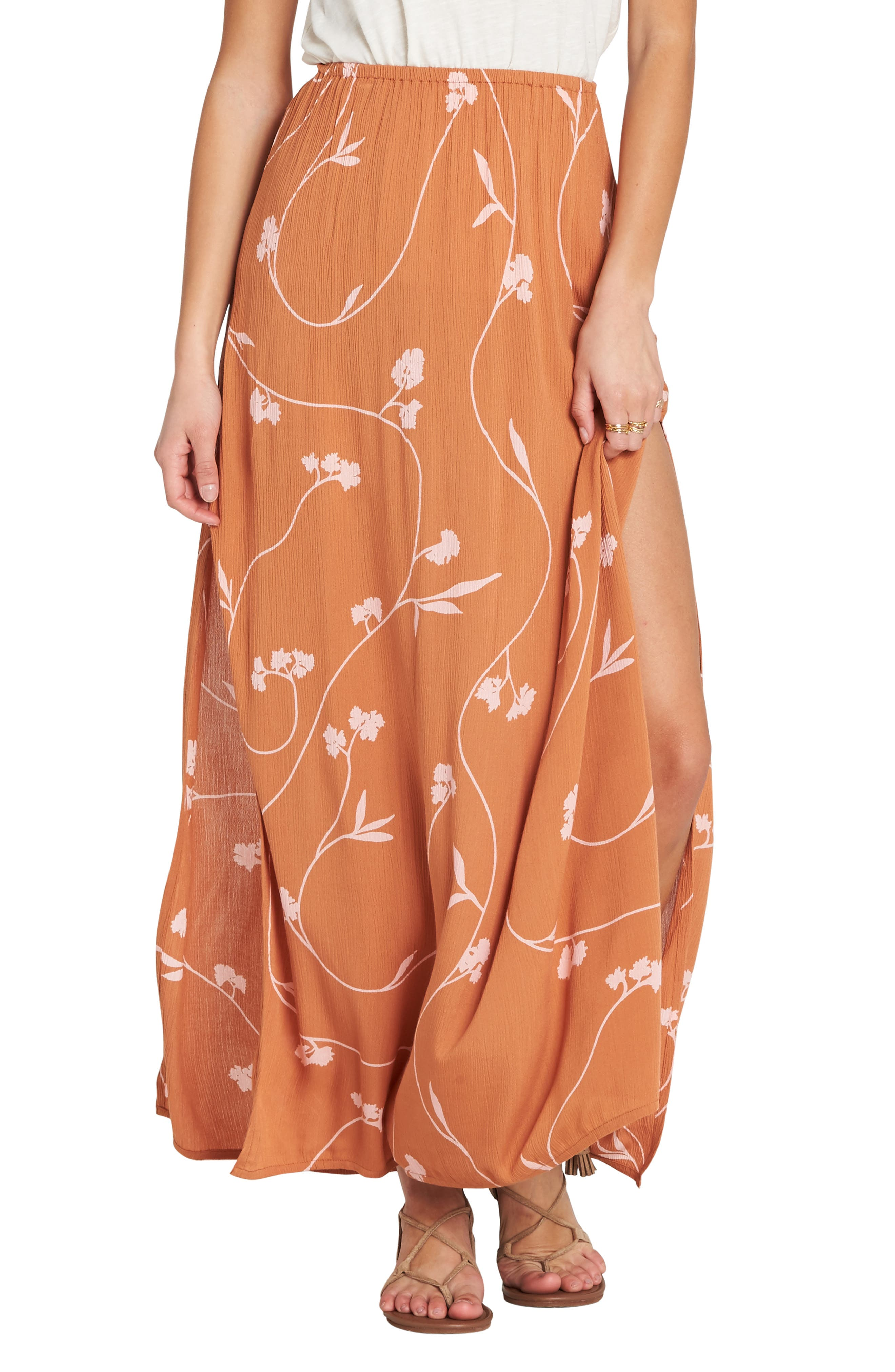 Love Trip Side Slit Skirt,                             Main thumbnail 1, color,                             TOFFEE