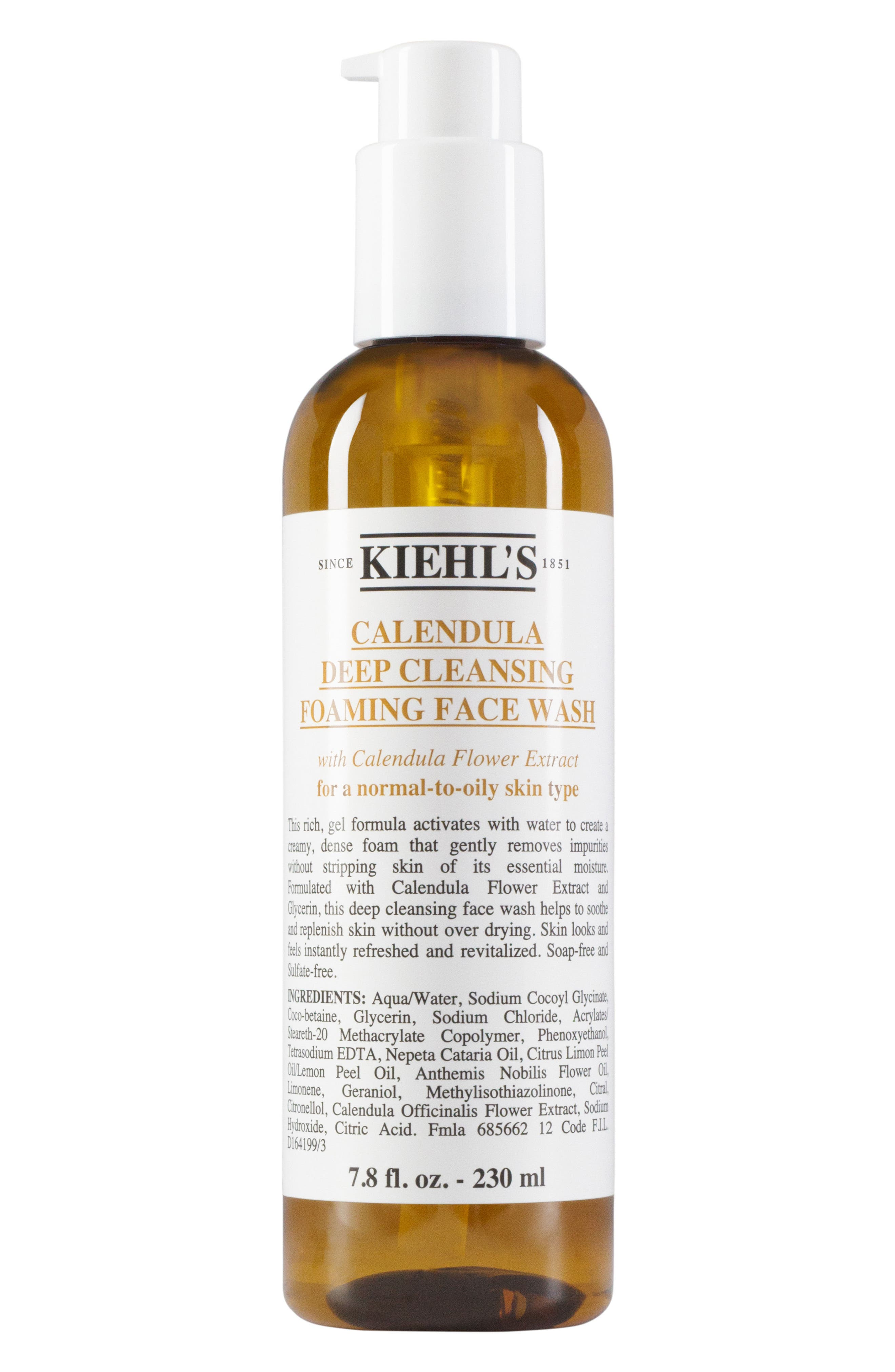 KIEHL'S SINCE 1851,                             Calendula Deep Cleansing Foaming Face Wash for Normal-to-Oily Skin,                             Main thumbnail 1, color,                             NO COLOR
