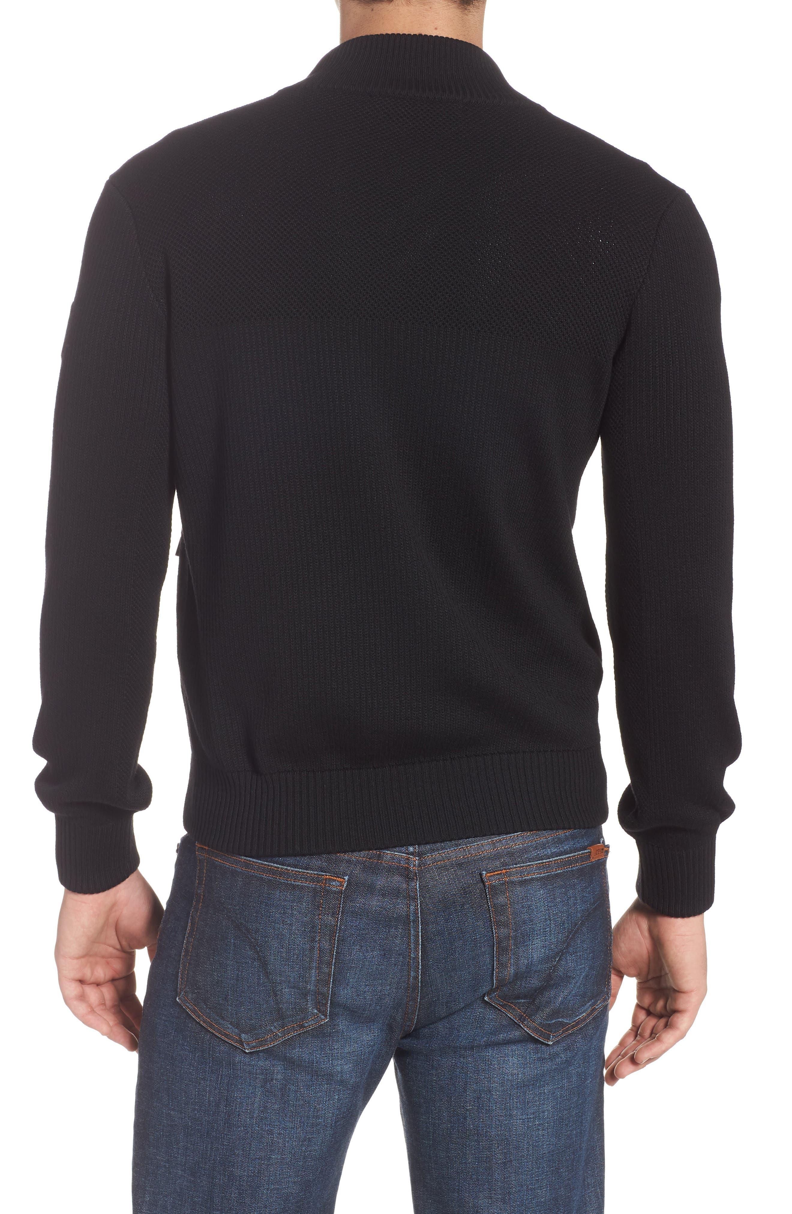 Hybridge Slim Fit Down Front Knit Jacket,                             Alternate thumbnail 2, color,                             BLACK