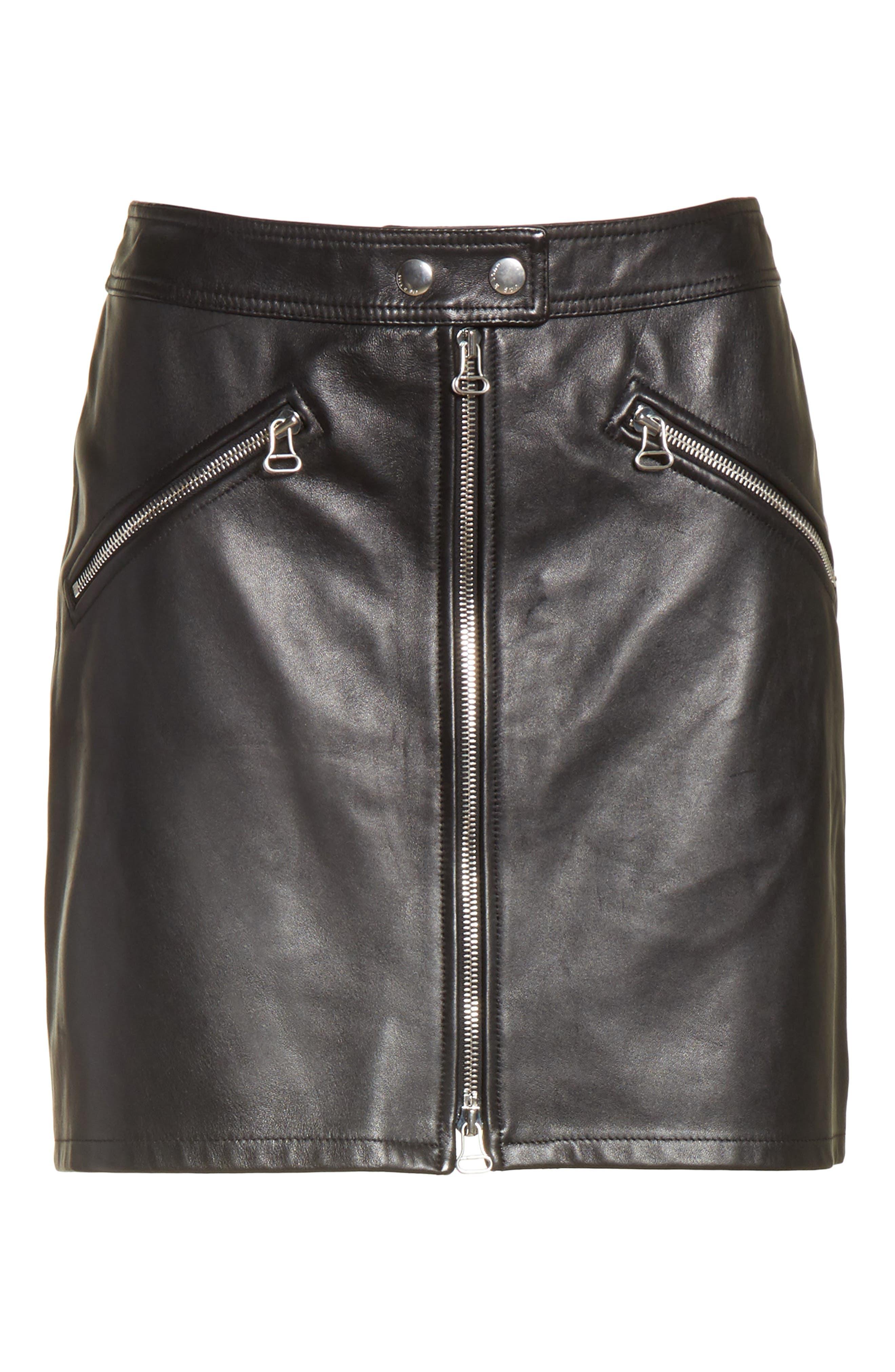 Racer Leather Miniskirt,                             Alternate thumbnail 6, color,                             002
