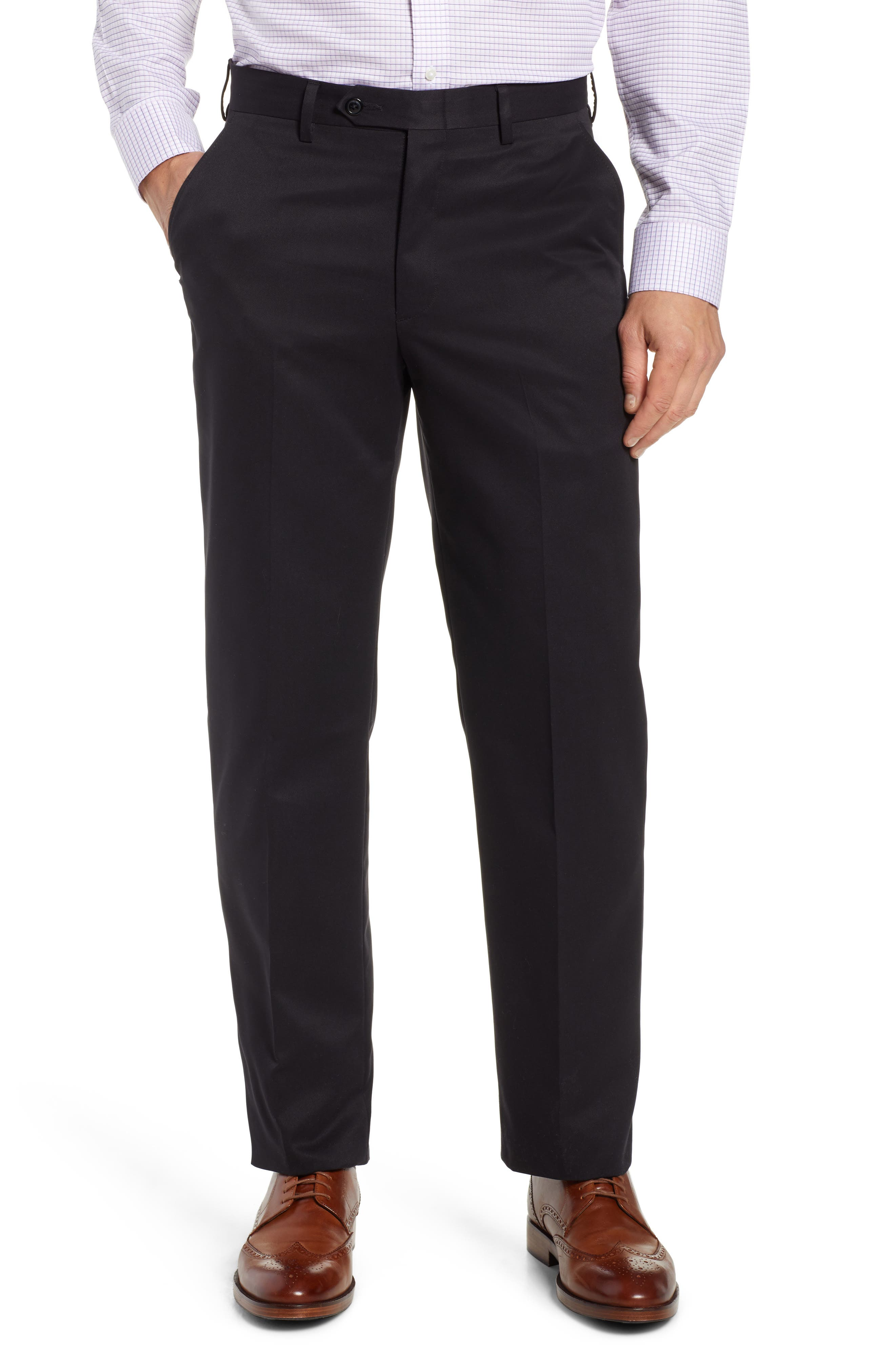 Classic Fit Flat Front Microfiber Performance Trousers,                         Main,                         color, BLACK