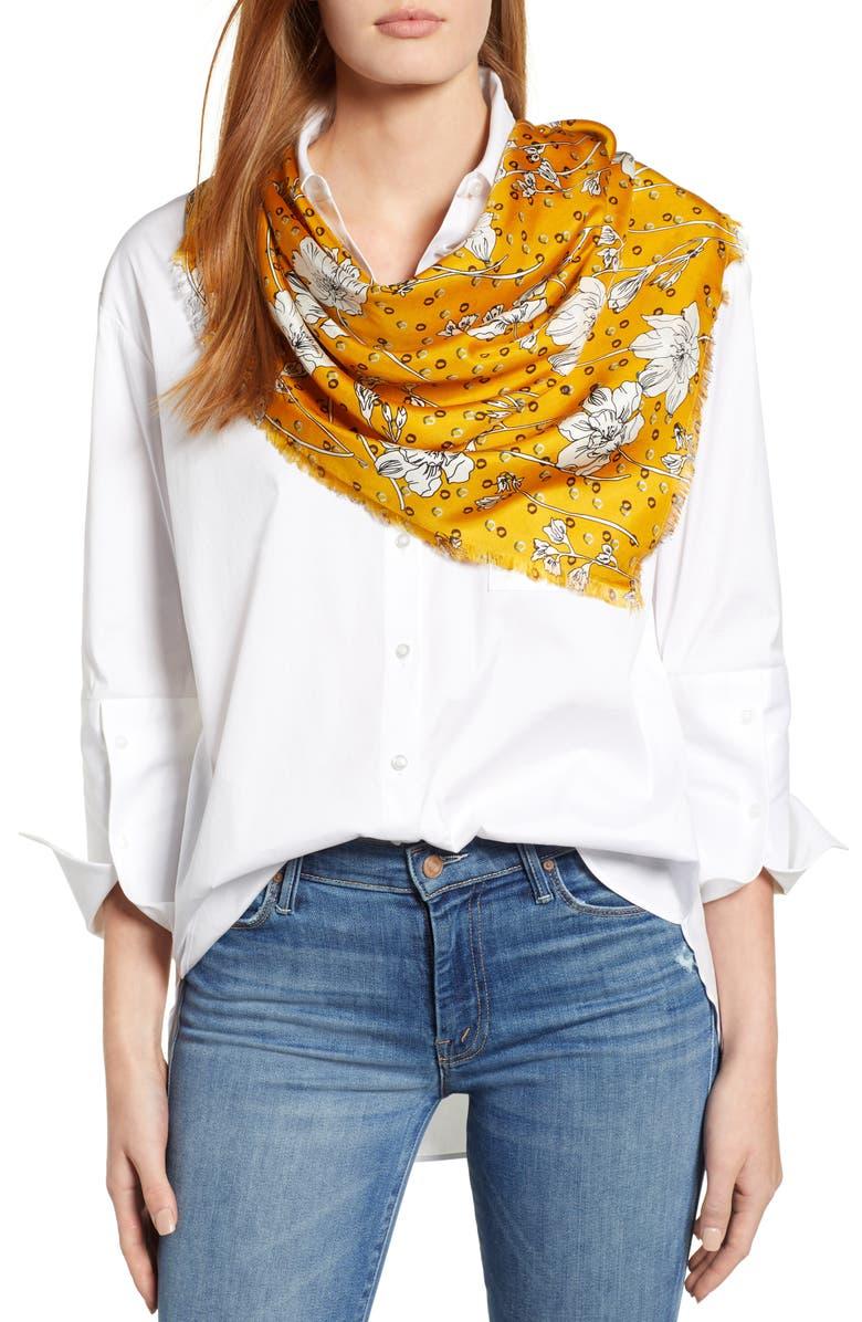 Floral Print Silk Twill Scarf | Nordstrom