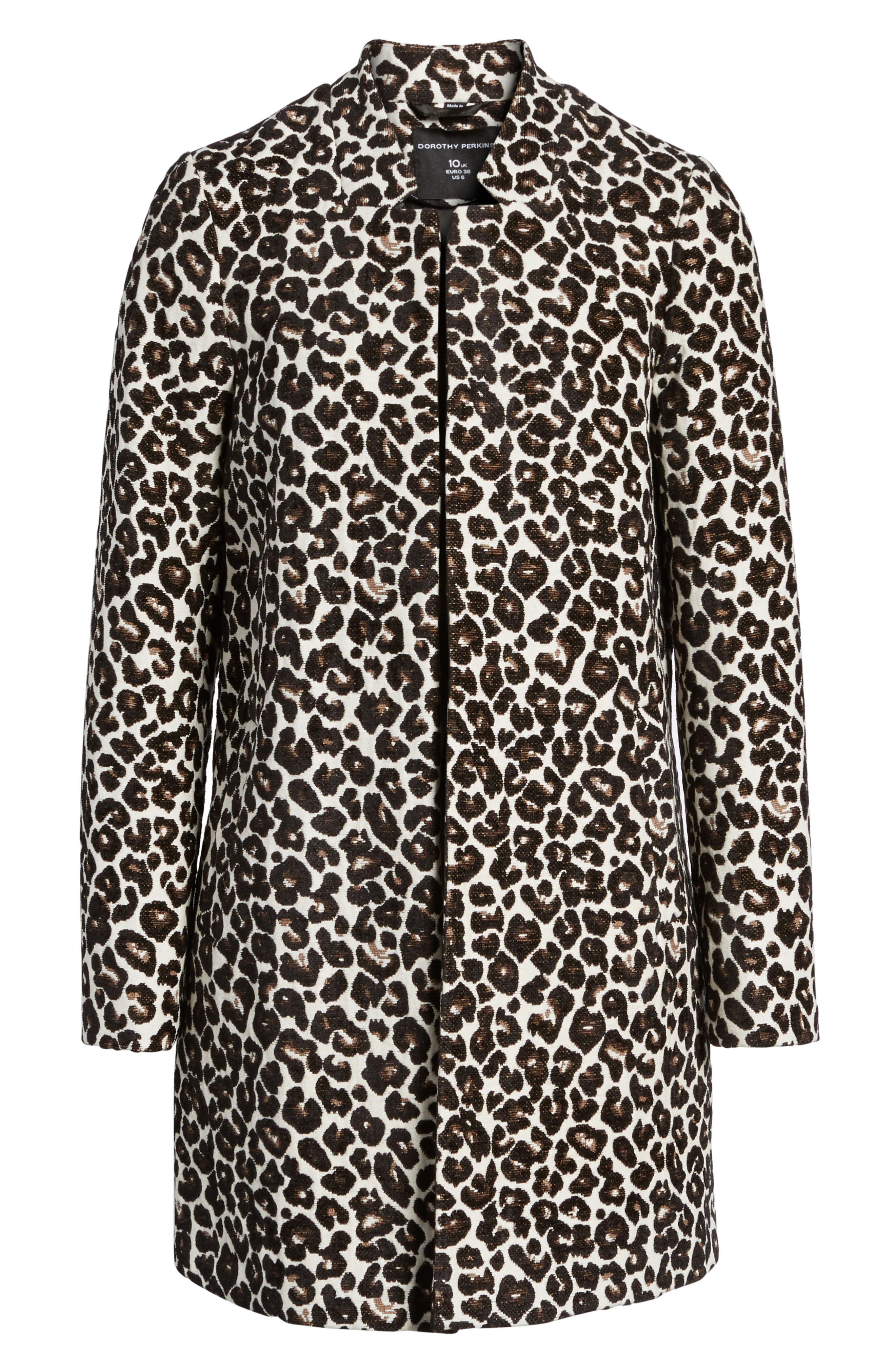 Leopard Print Car Coat,                             Alternate thumbnail 5, color,                             700