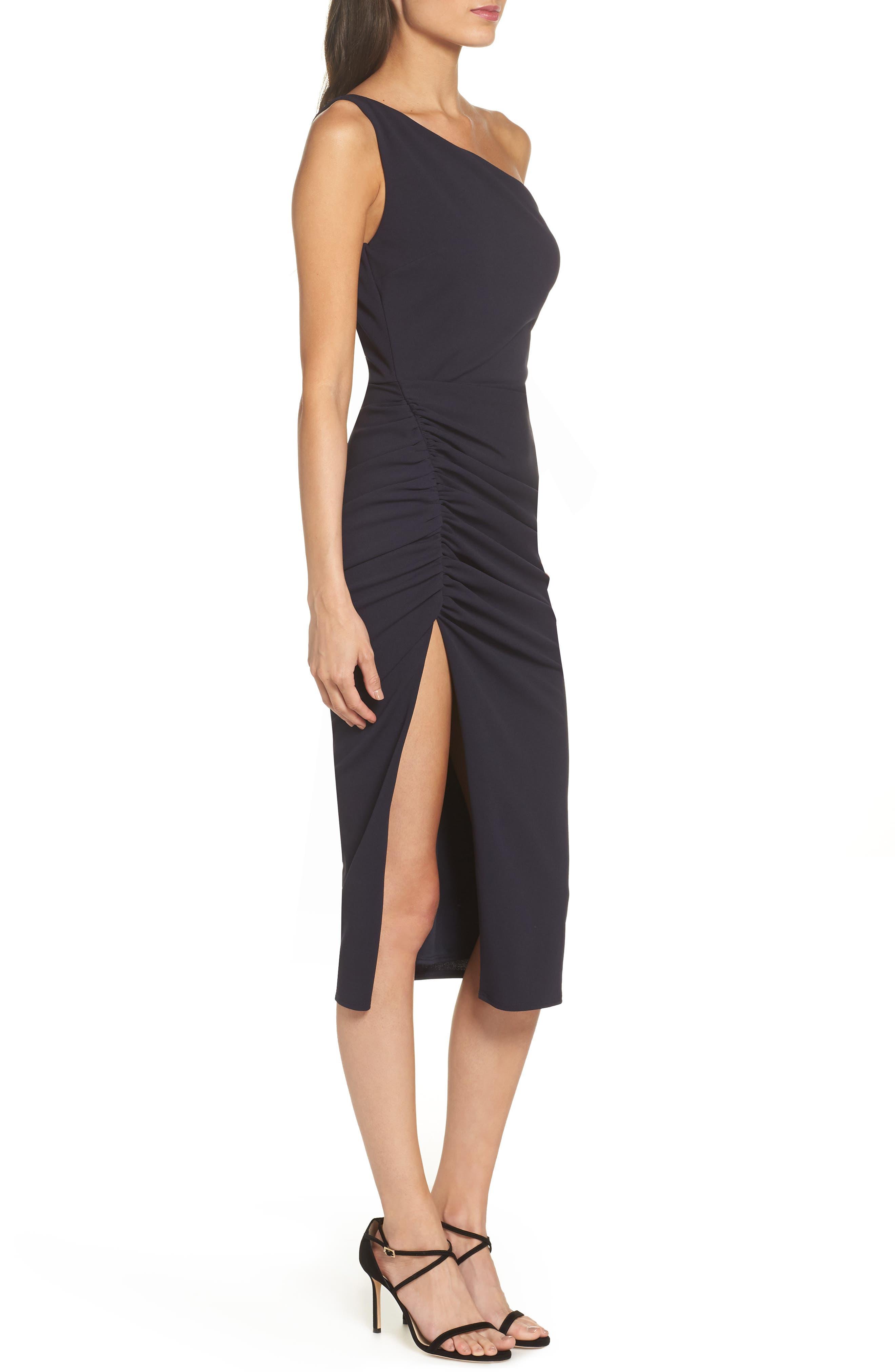 One-Shoulder Crepe Dress,                             Alternate thumbnail 3, color,                             NAVY
