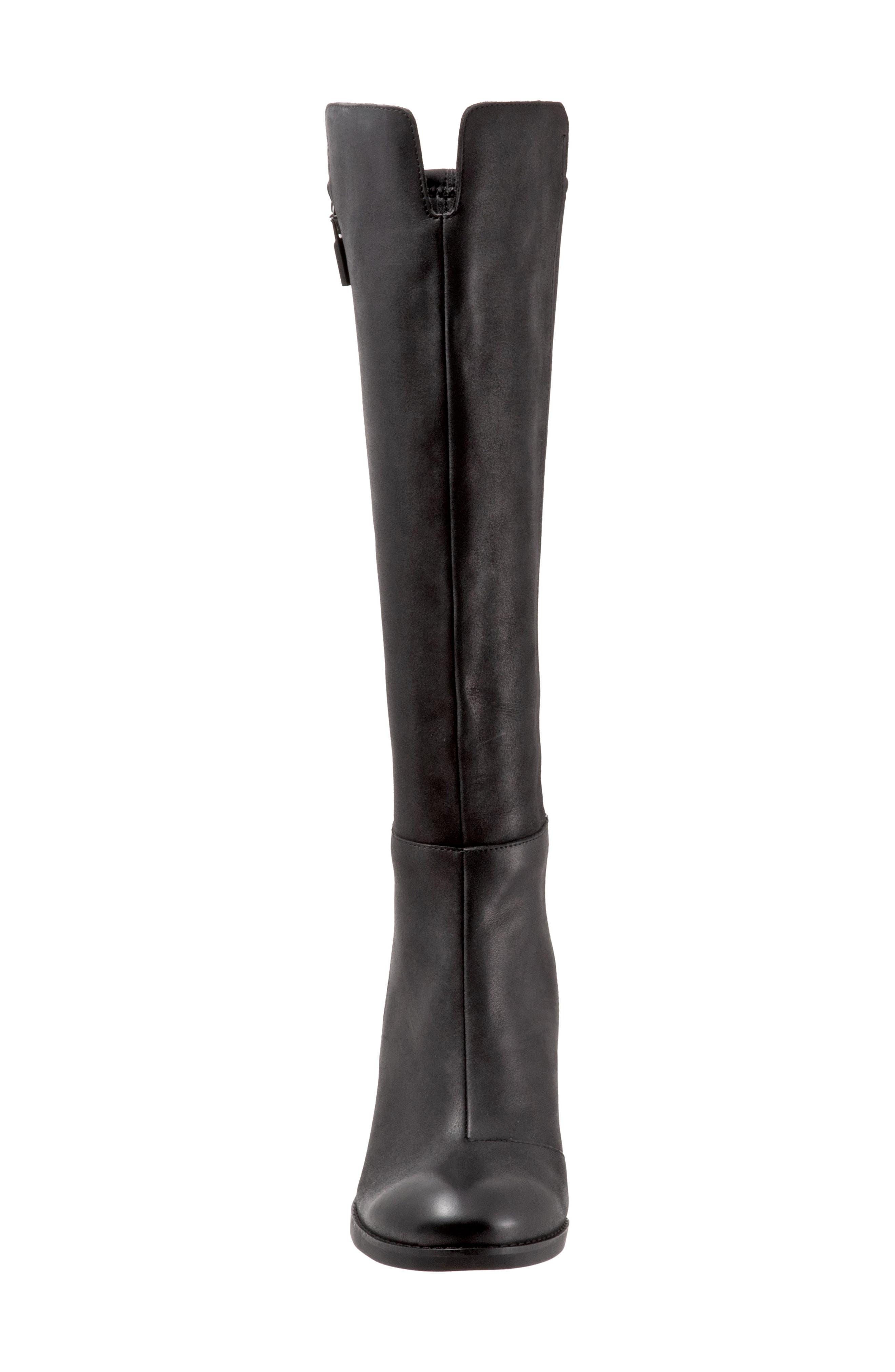 Katia Knee High Boot,                             Alternate thumbnail 4, color,                             BLACK LEATHER