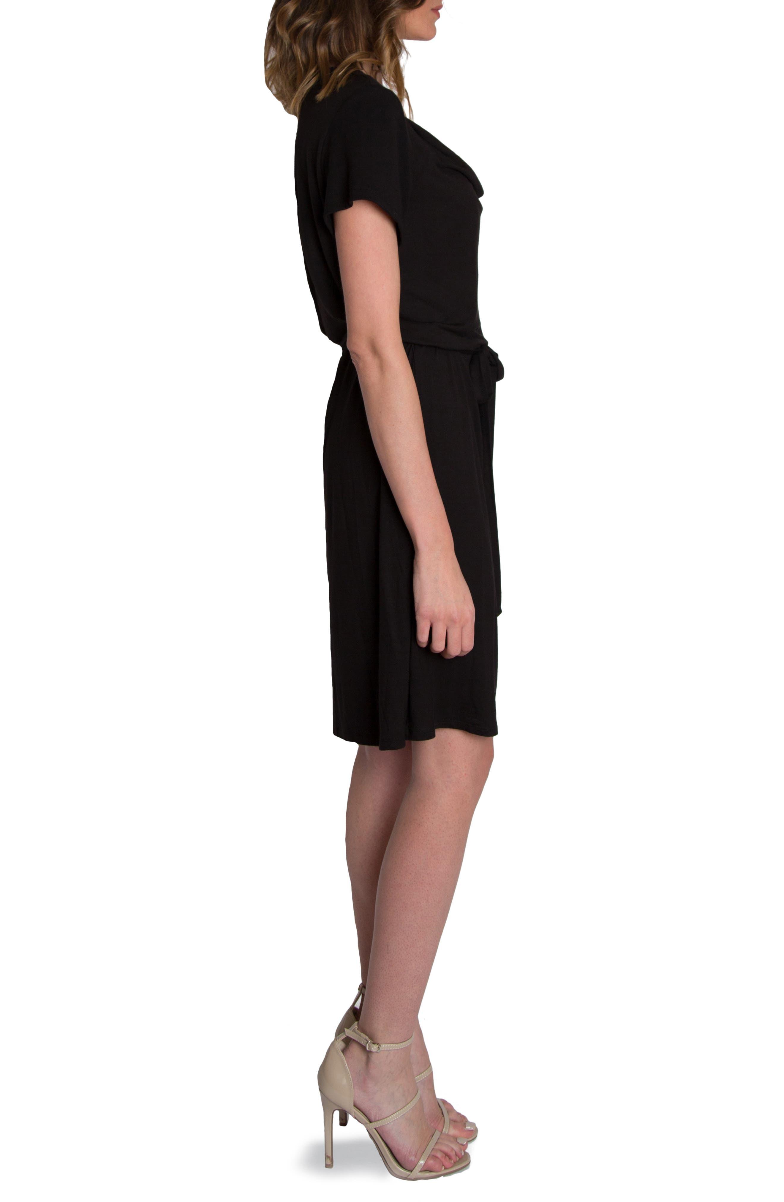 'Chic' Cowl Neck Nursing Dress,                             Alternate thumbnail 4, color,                             BLACK