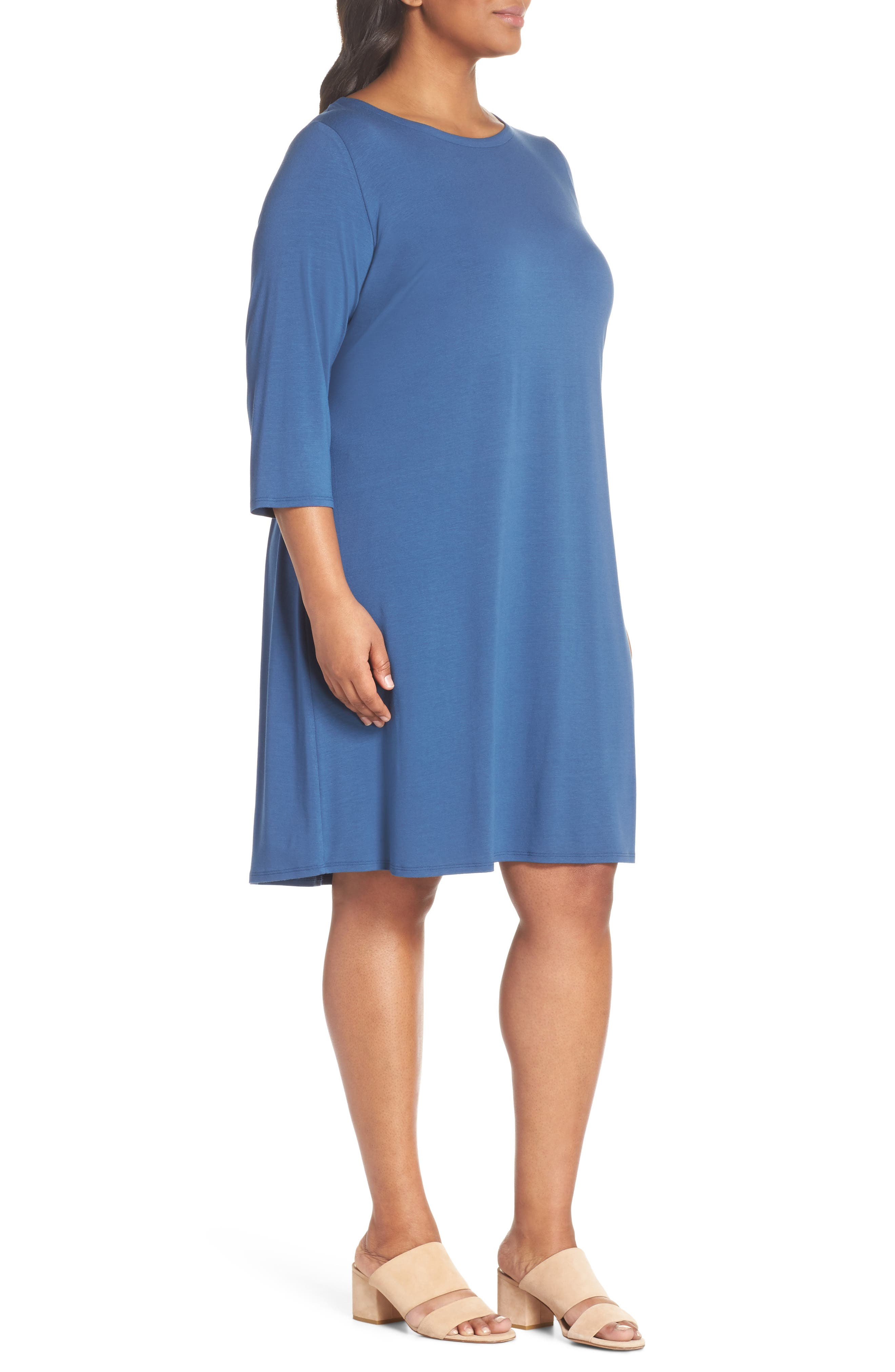 Jewel Neck Tie Back Dress,                             Alternate thumbnail 15, color,
