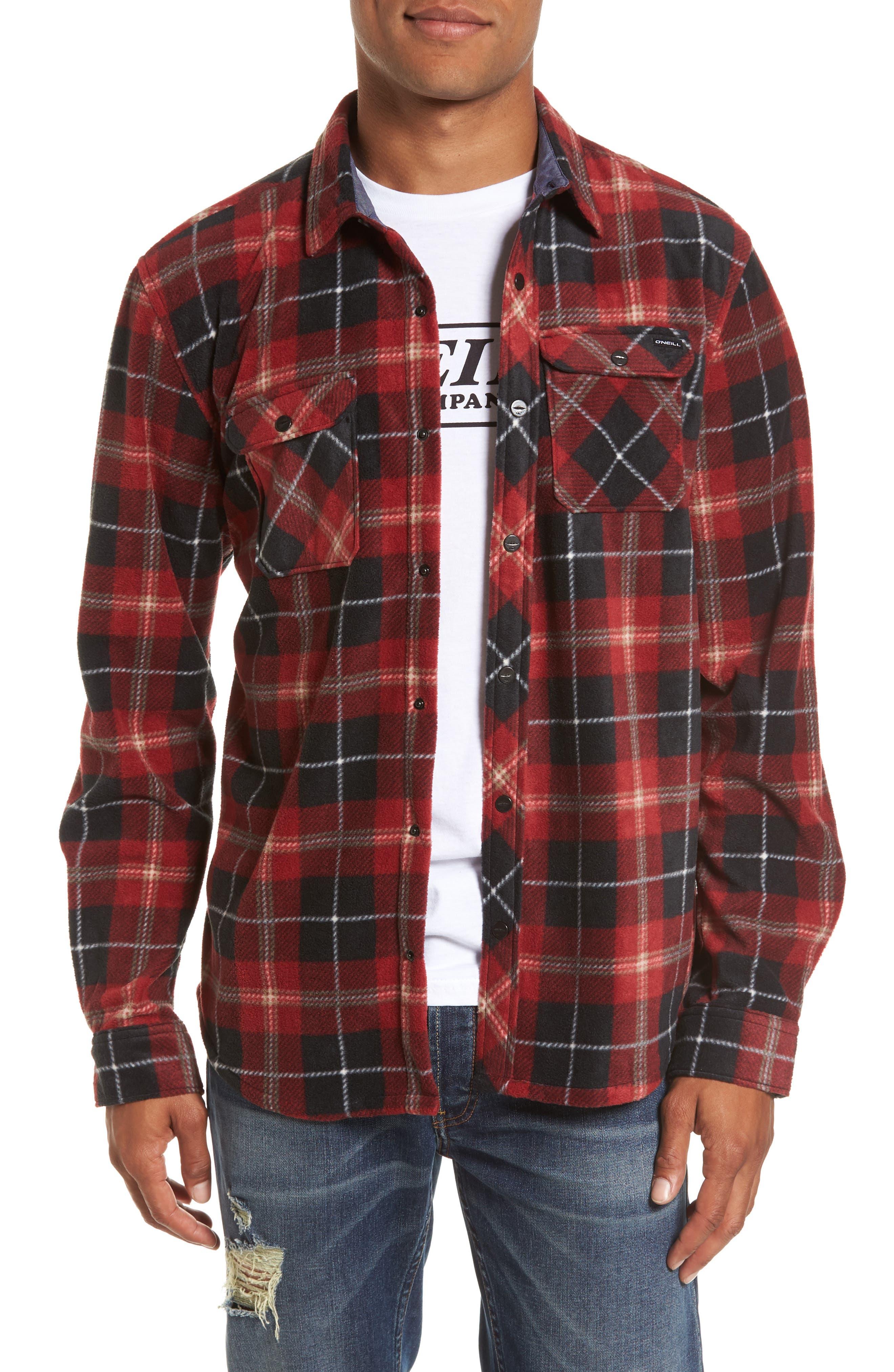 Glacier Plaid Fleece Flannel Shirt,                             Main thumbnail 3, color,