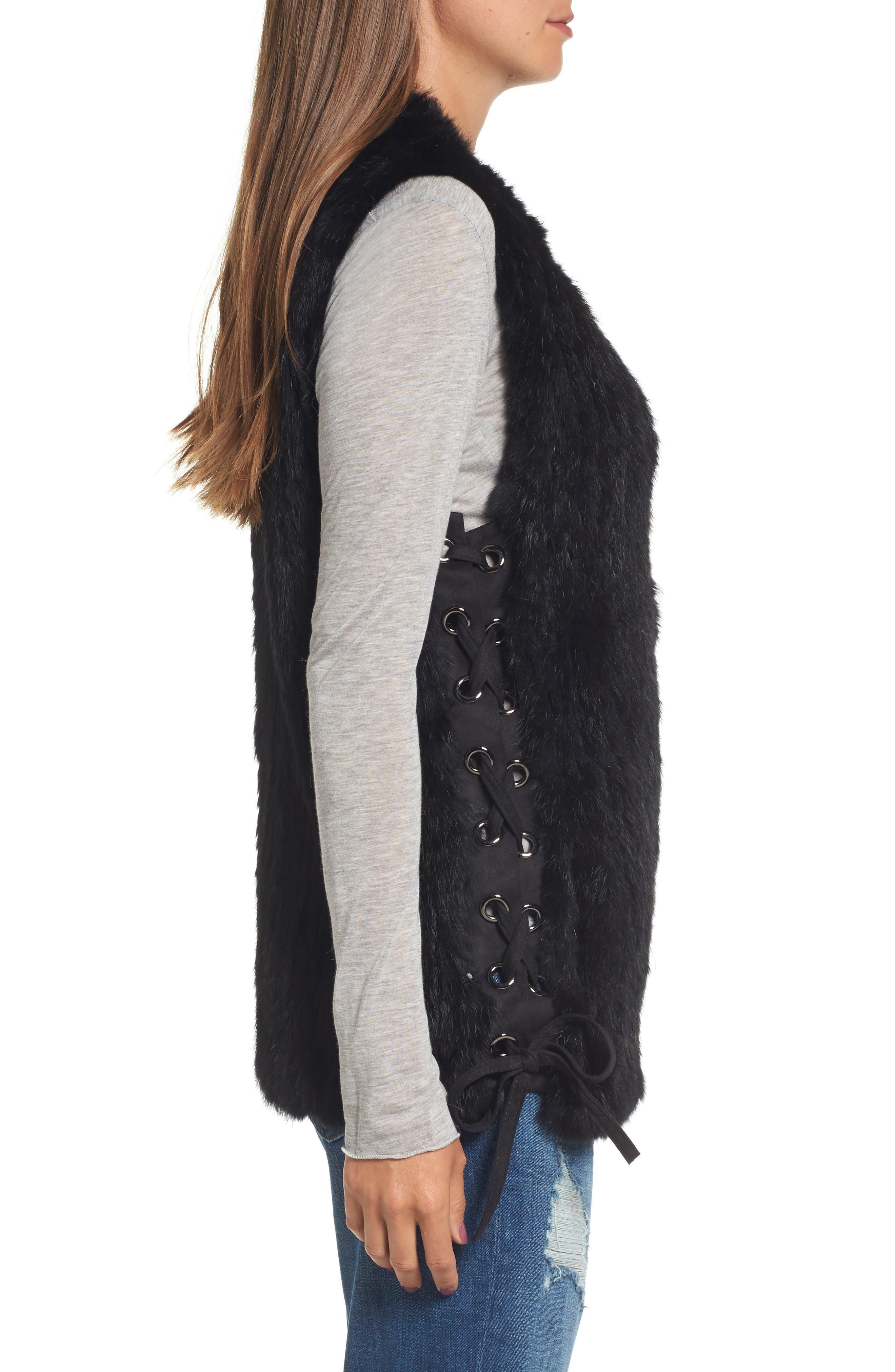 Genuine Rabbit Fur Vest,                             Alternate thumbnail 3, color,                             BLACK