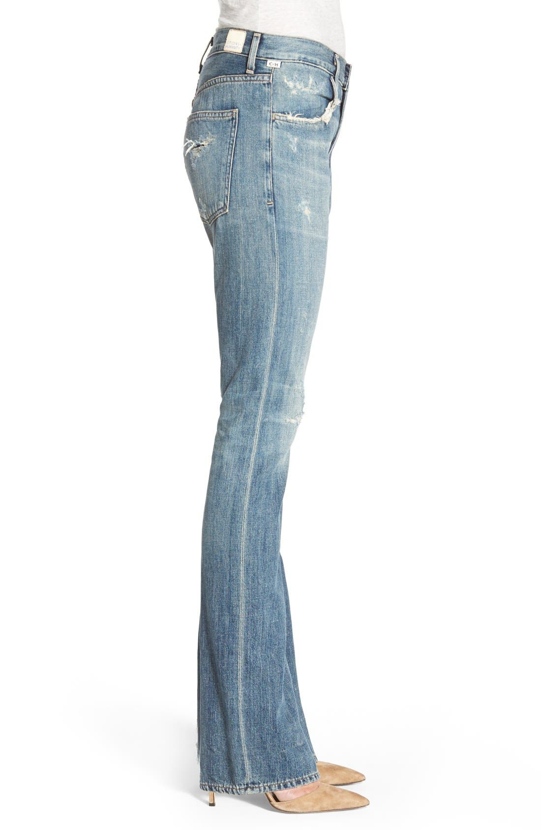 'Sasha' Destroyed Flare Jeans,                             Alternate thumbnail 3, color,                             FREEMONT