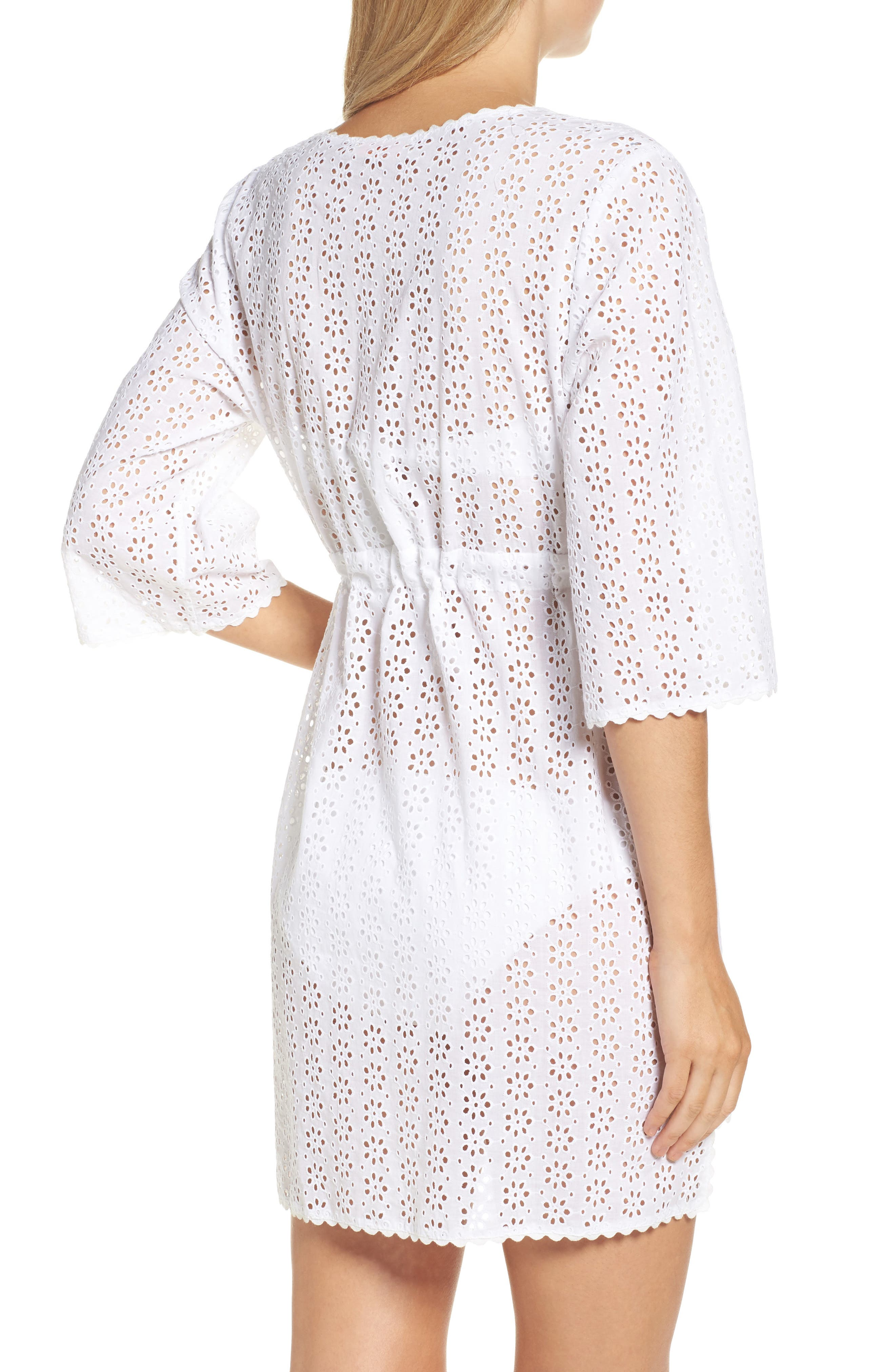 Broderie Anglais Cover-Up Dress,                             Alternate thumbnail 2, color,                             100