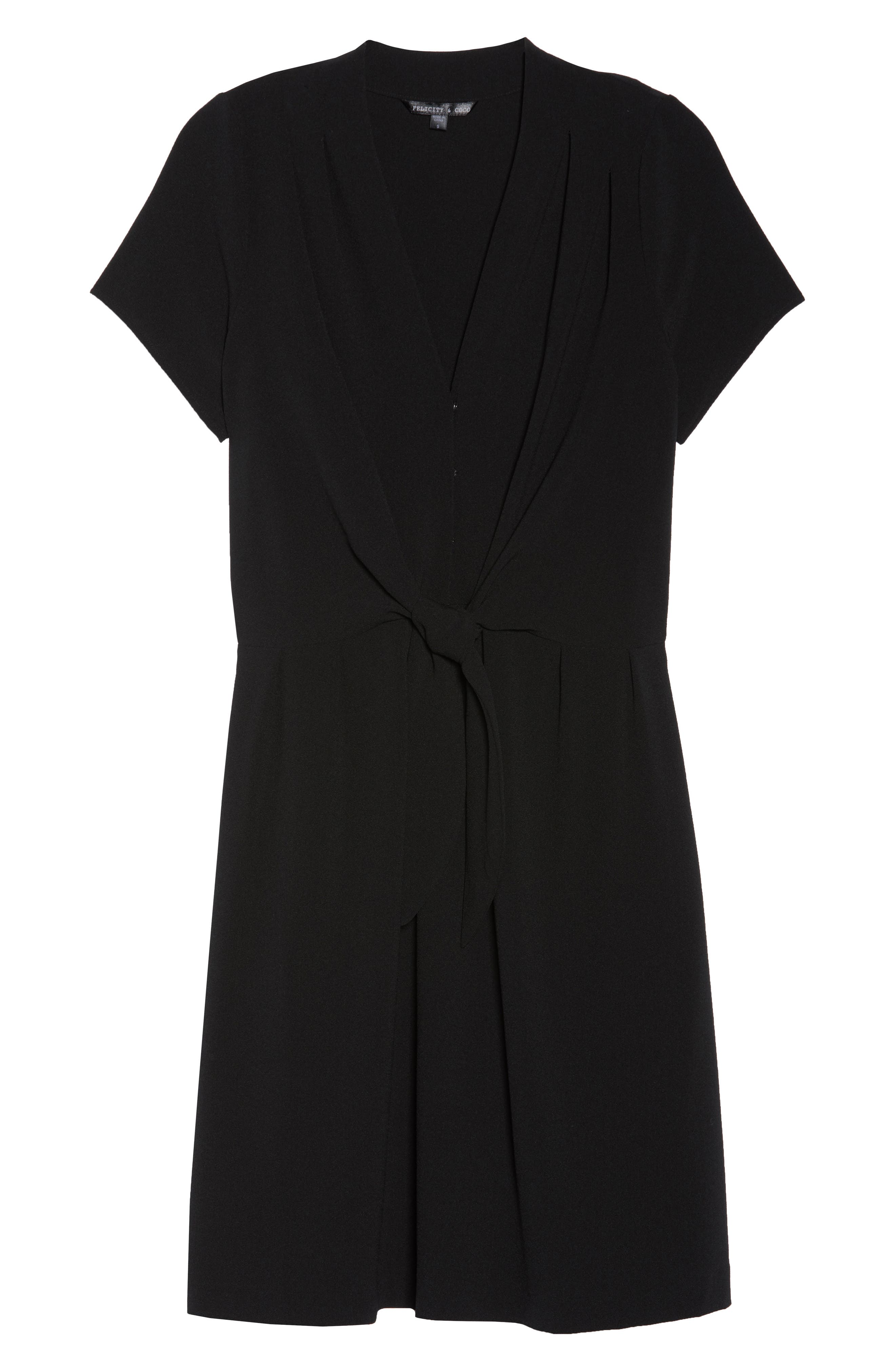 Tie Front Sheath Dress,                             Alternate thumbnail 7, color,                             001