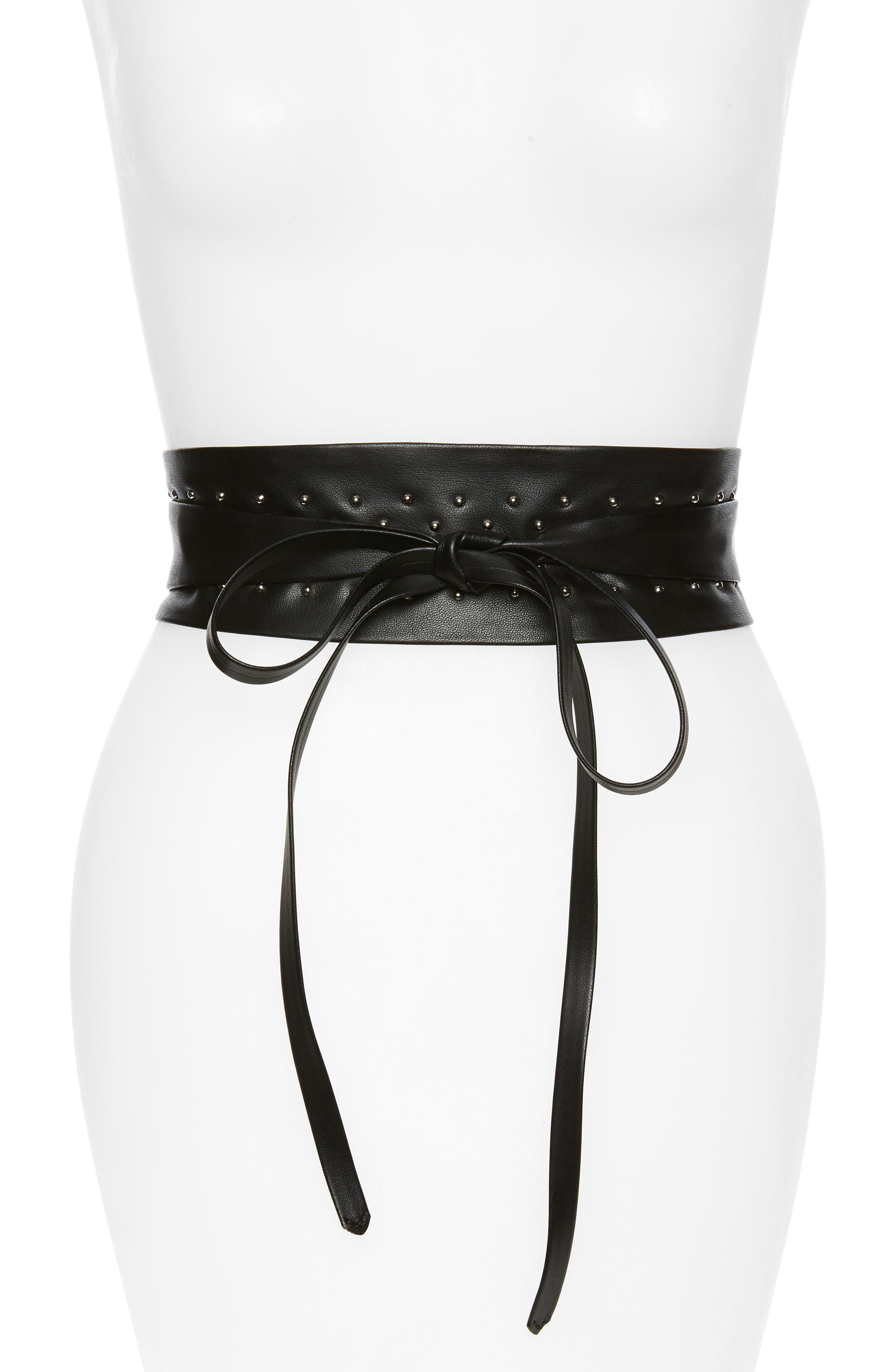 Studded Faux Leather Obi Belt,                         Main,                         color, BLACK