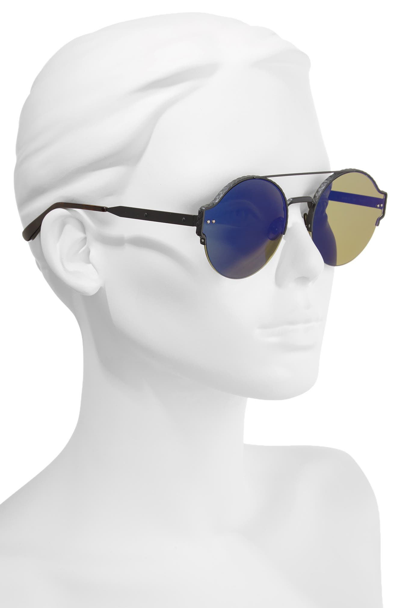 54mm Round Semi-Rimless Sunglasses,                             Alternate thumbnail 4, color,
