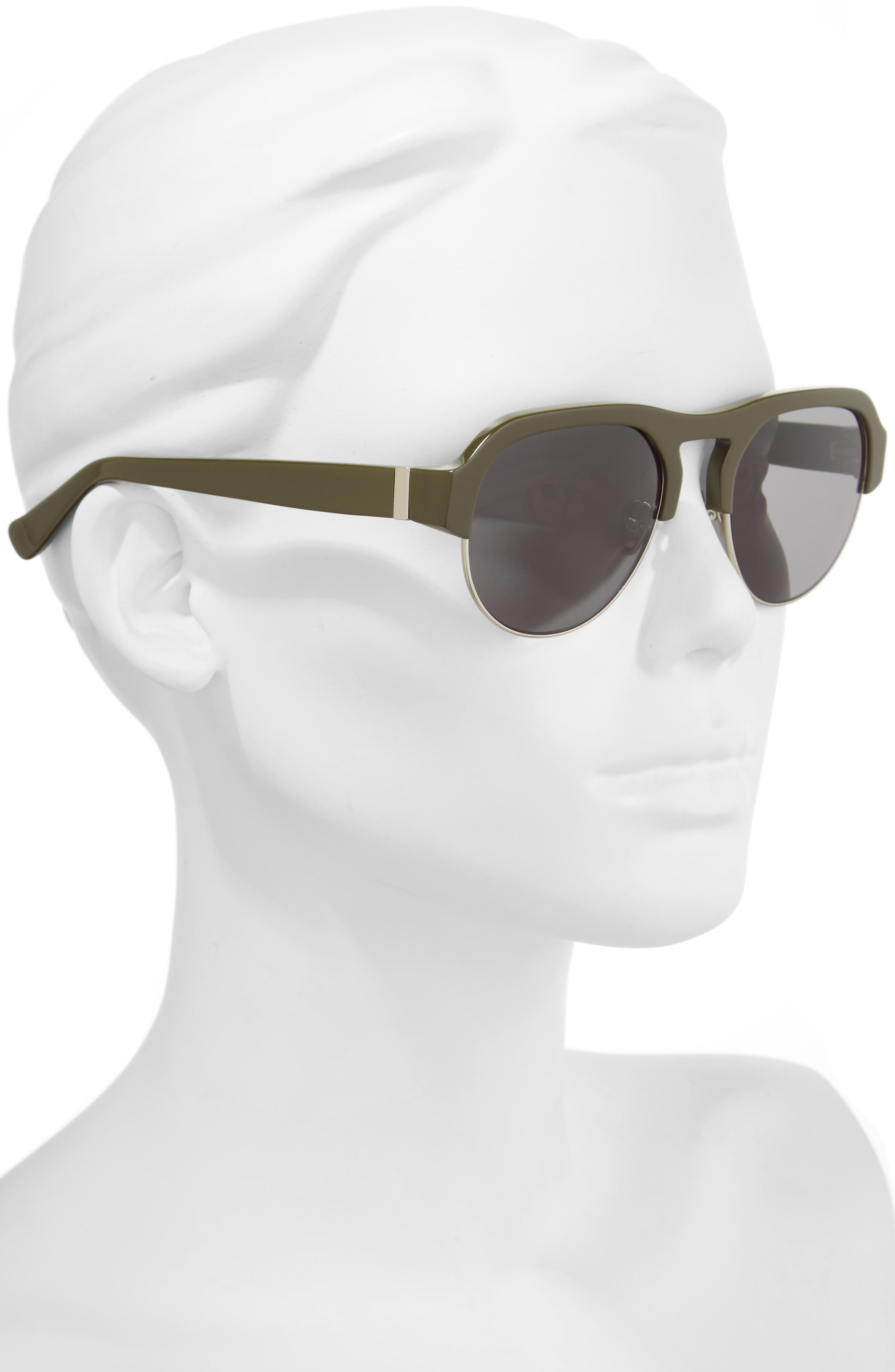 Nomad 52mm Sunglasses,                             Alternate thumbnail 2, color,                             OLIVE/ SILVER