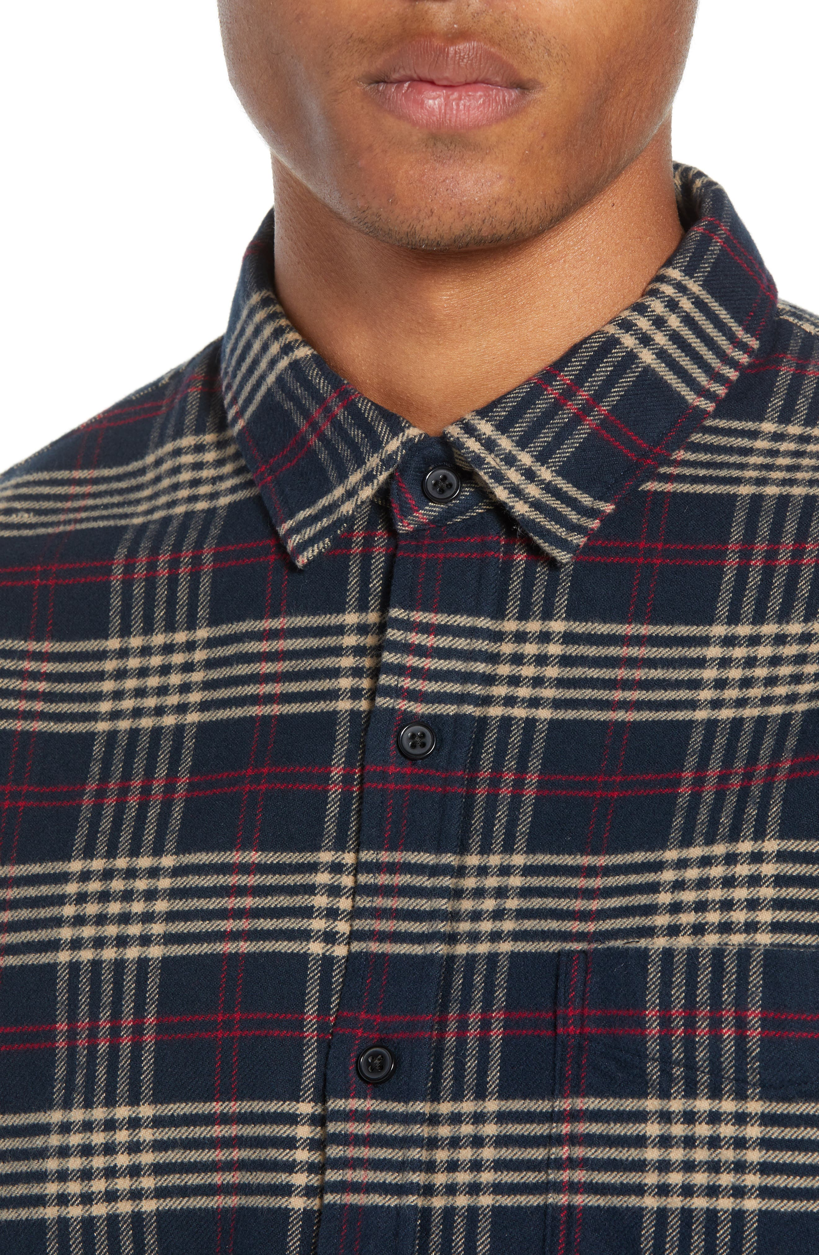 Forrest Slim Fit Plaid Flannel Sport Shirt,                             Alternate thumbnail 2, color,                             NAVY/RED/ELM