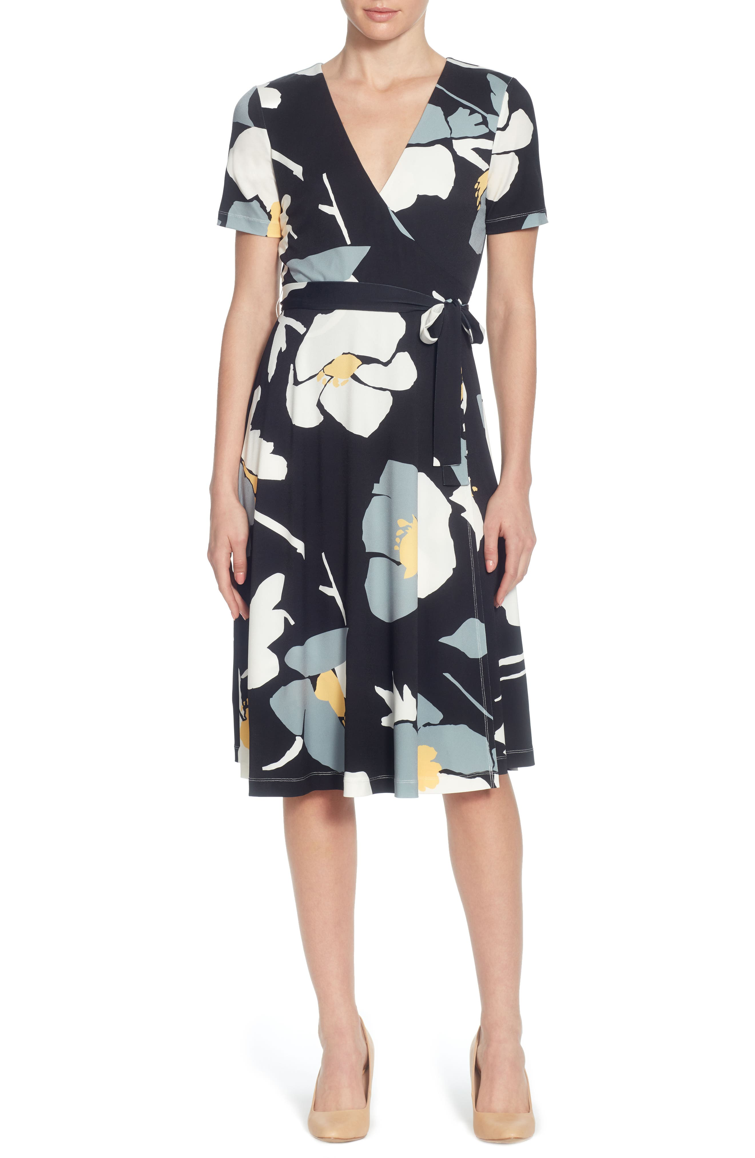 Taral Floral Faux Wrap Dress,                             Main thumbnail 1, color,