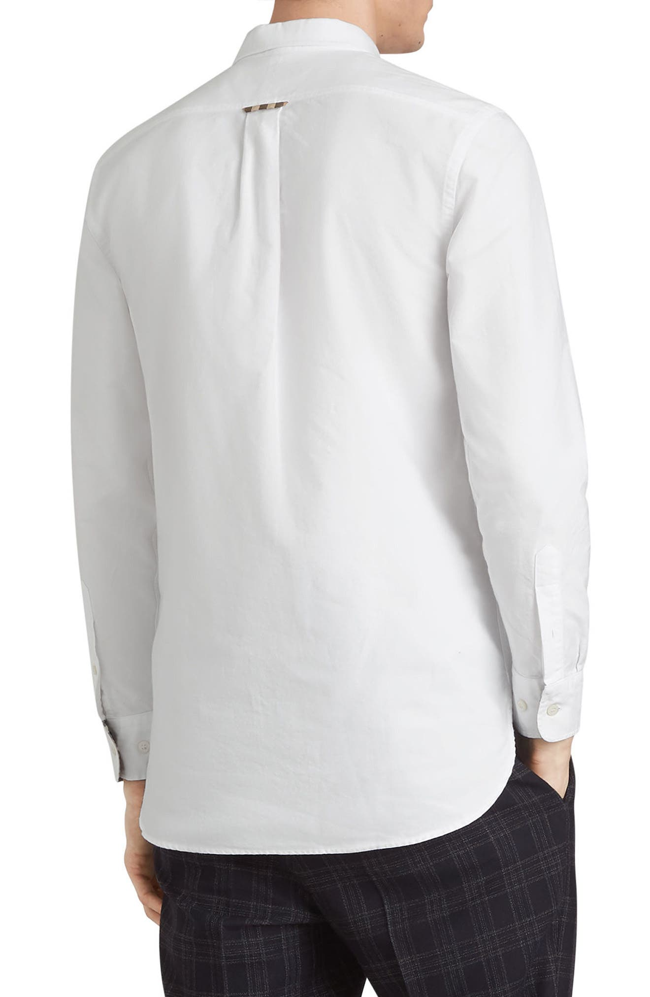 BURBERRY,                             Harry Check Trim Sport Shirt,                             Alternate thumbnail 4, color,                             WHITE