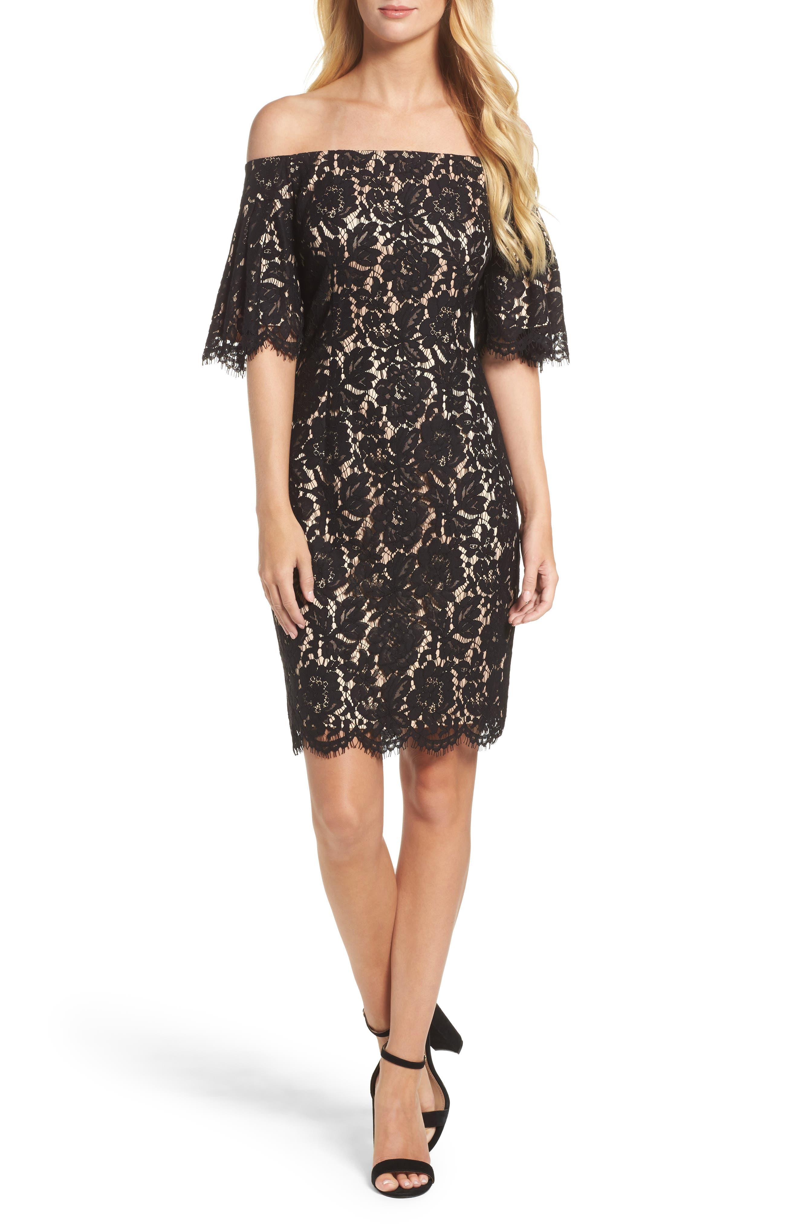 Flounce Sleeve Off the Shoulder Lace Sheath Dress,                             Main thumbnail 1, color,                             001