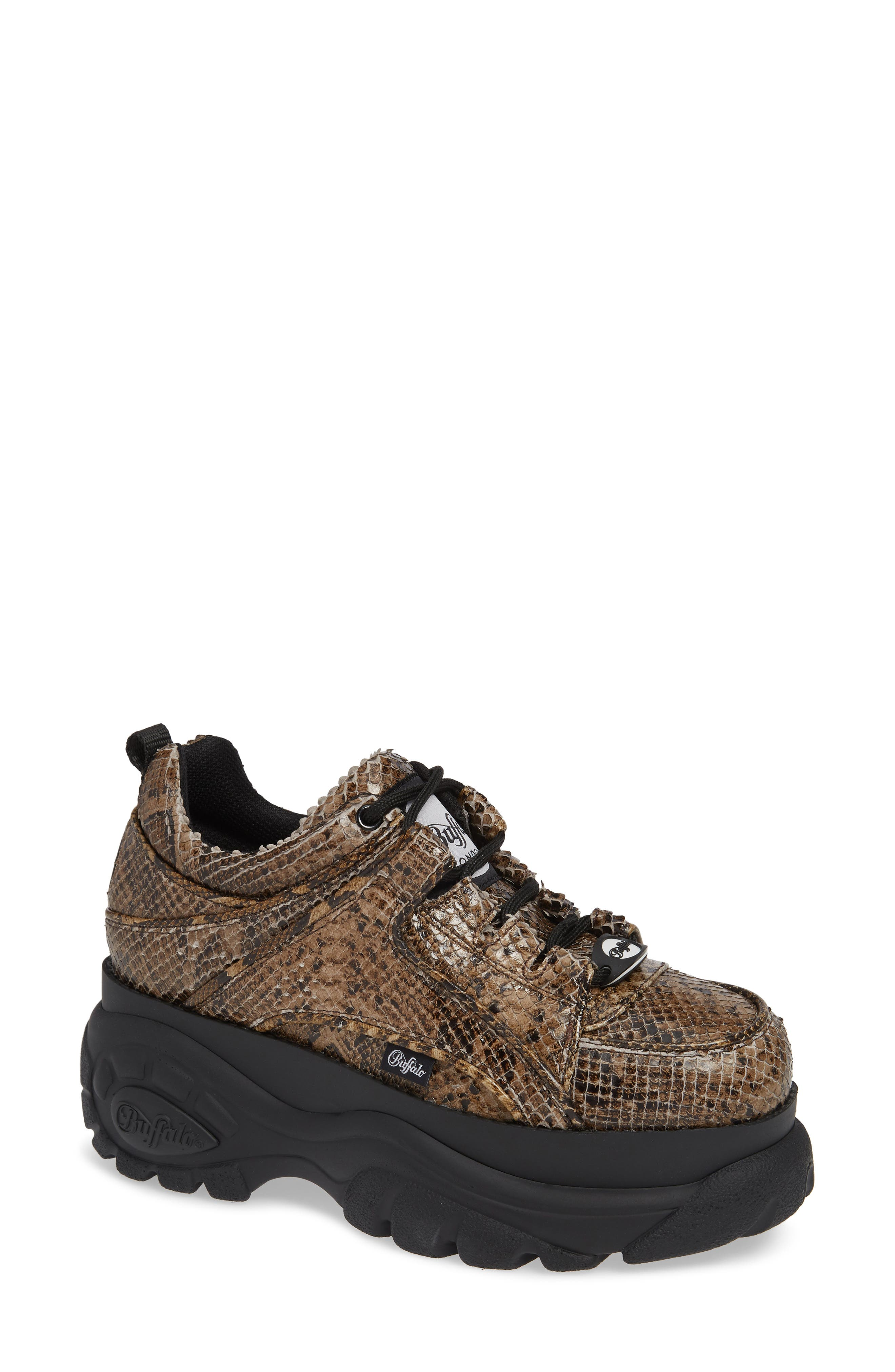 x Buffalo London Python Print Platform Sneaker,                         Main,                         color, BEIGE