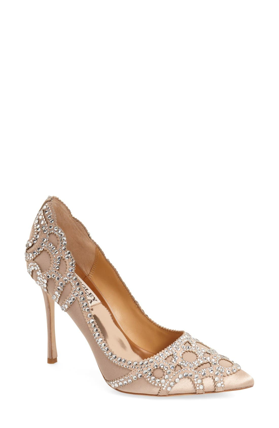 Badgley Mischka 'Rouge' Pointy Toe Pump,                             Main thumbnail 1, color,                             LATTE SATIN