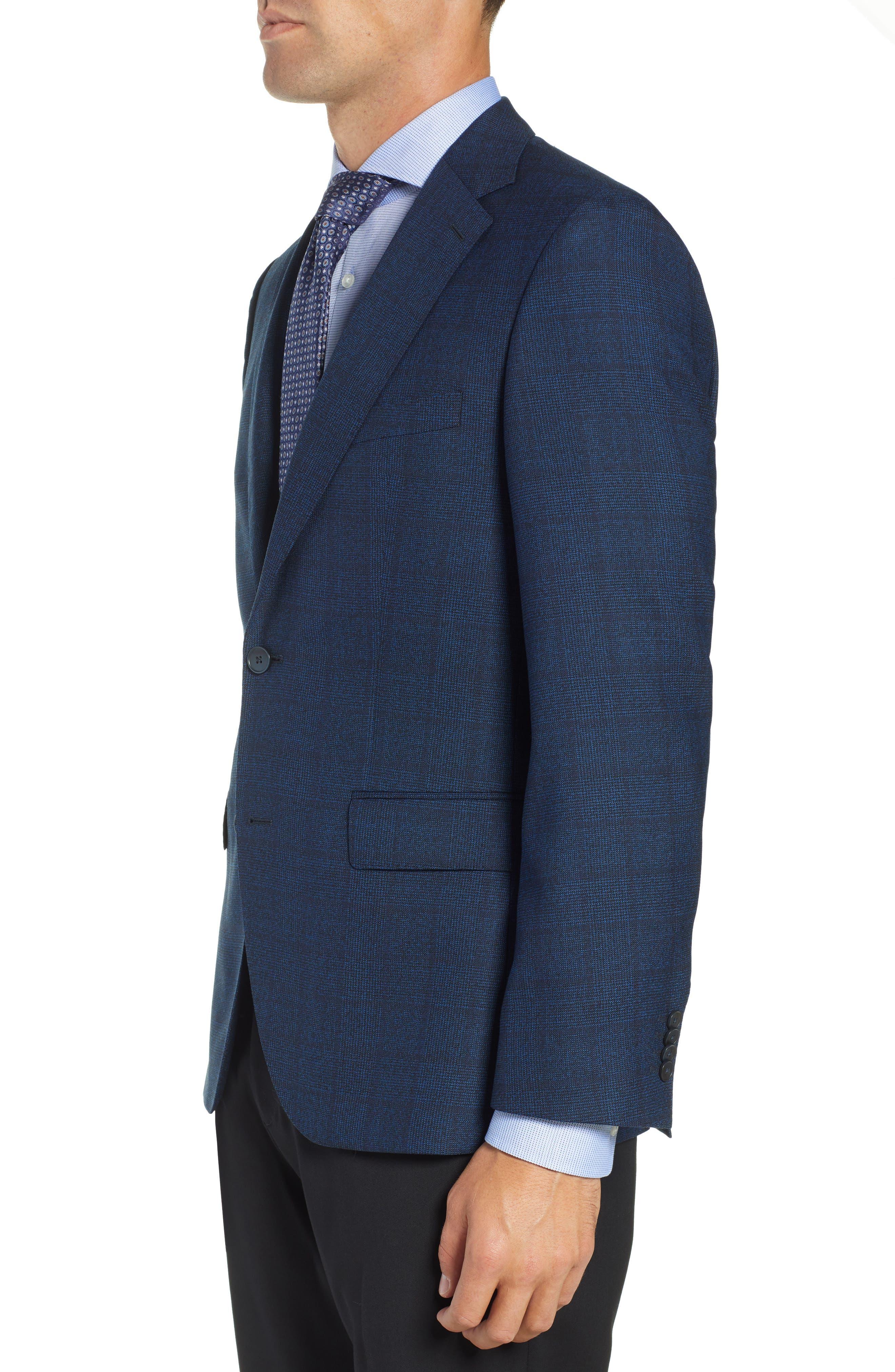 Jewels Classic Fit Plaid Wool Sport Coat,                             Alternate thumbnail 3, color,                             DARK BLUE