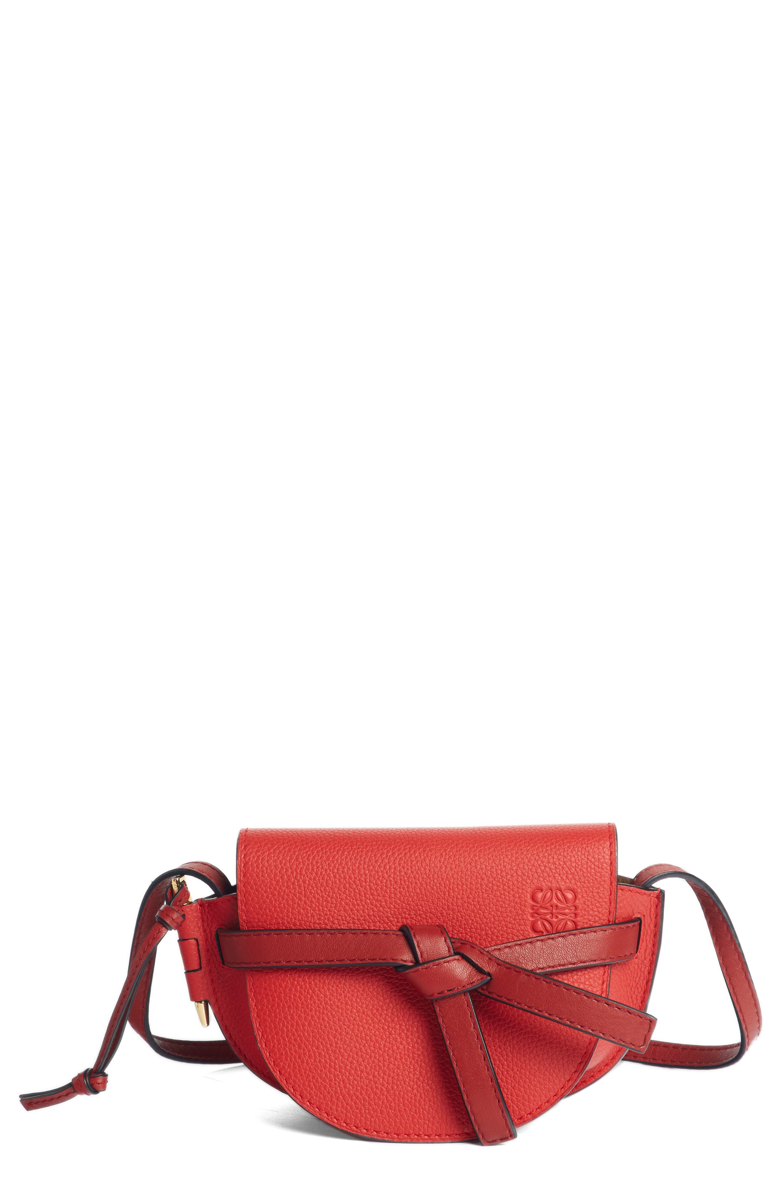 Small Gate Leather Crossbody Bag,                             Main thumbnail 1, color,                             SCARLET RED/ BURNT RED