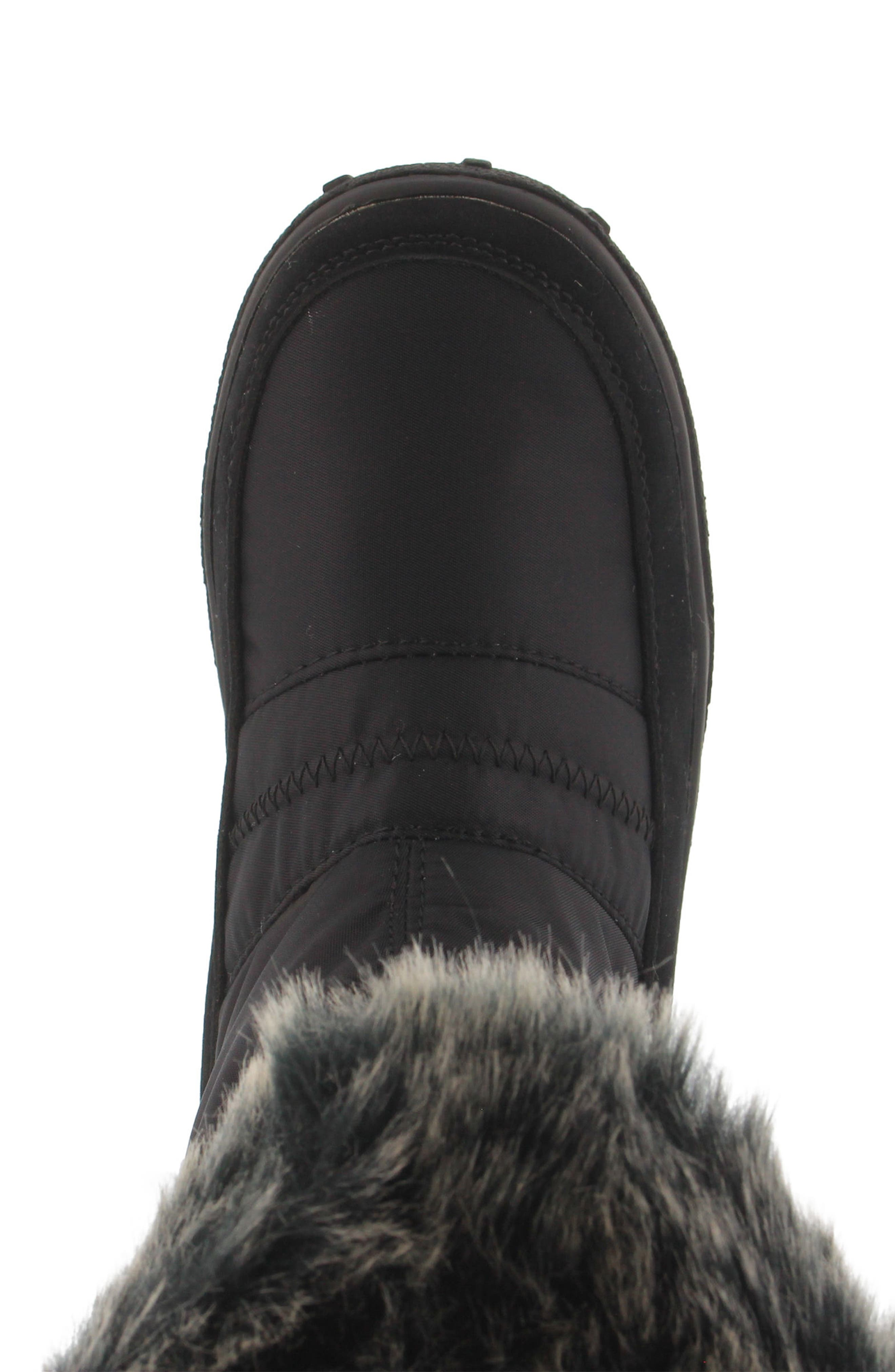 Rolim Faux Fur Trim Waterproof Boot,                             Alternate thumbnail 4, color,                             BLACK
