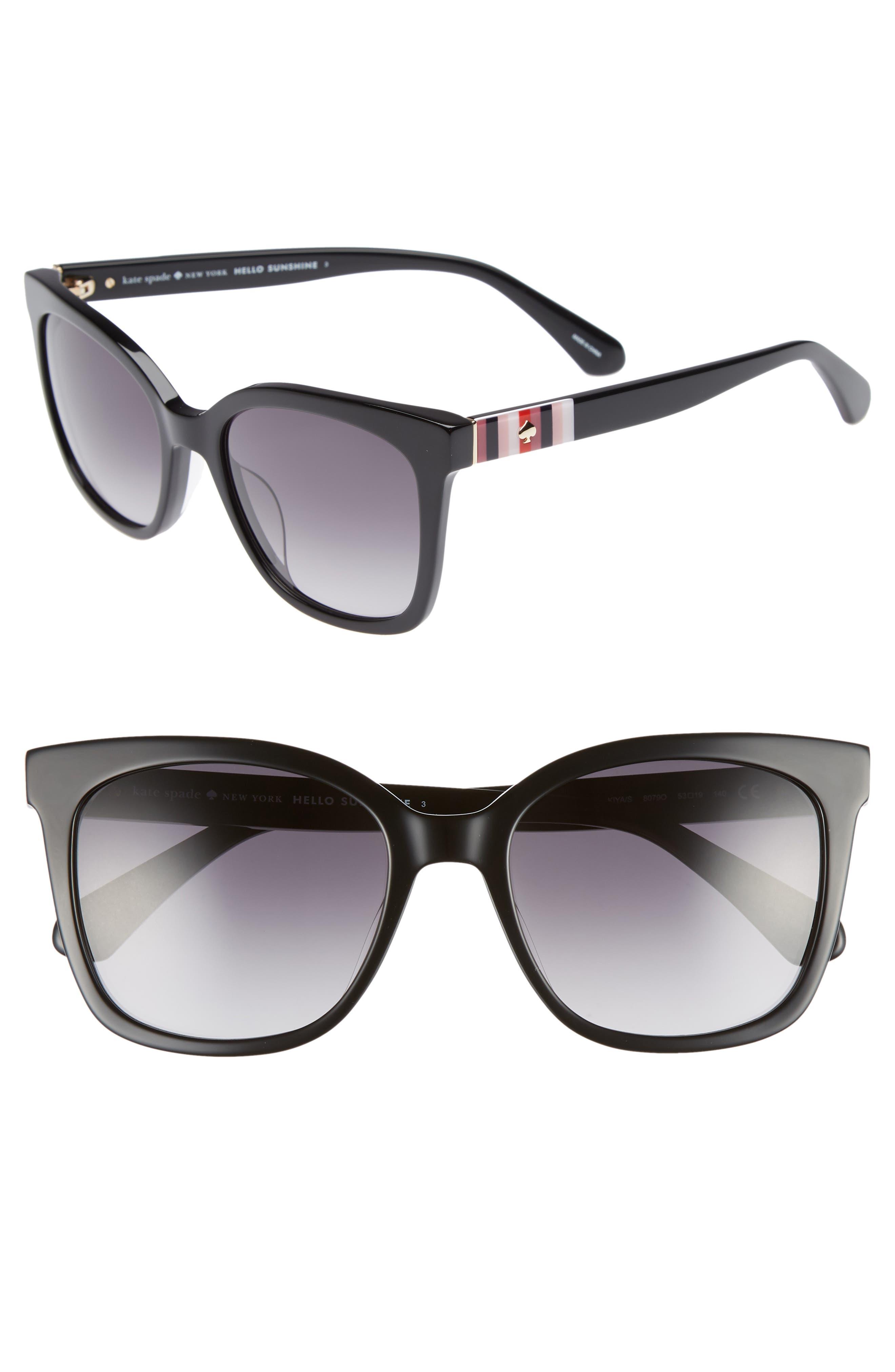 kiya 53mm sunglasses,                         Main,                         color, BLACK