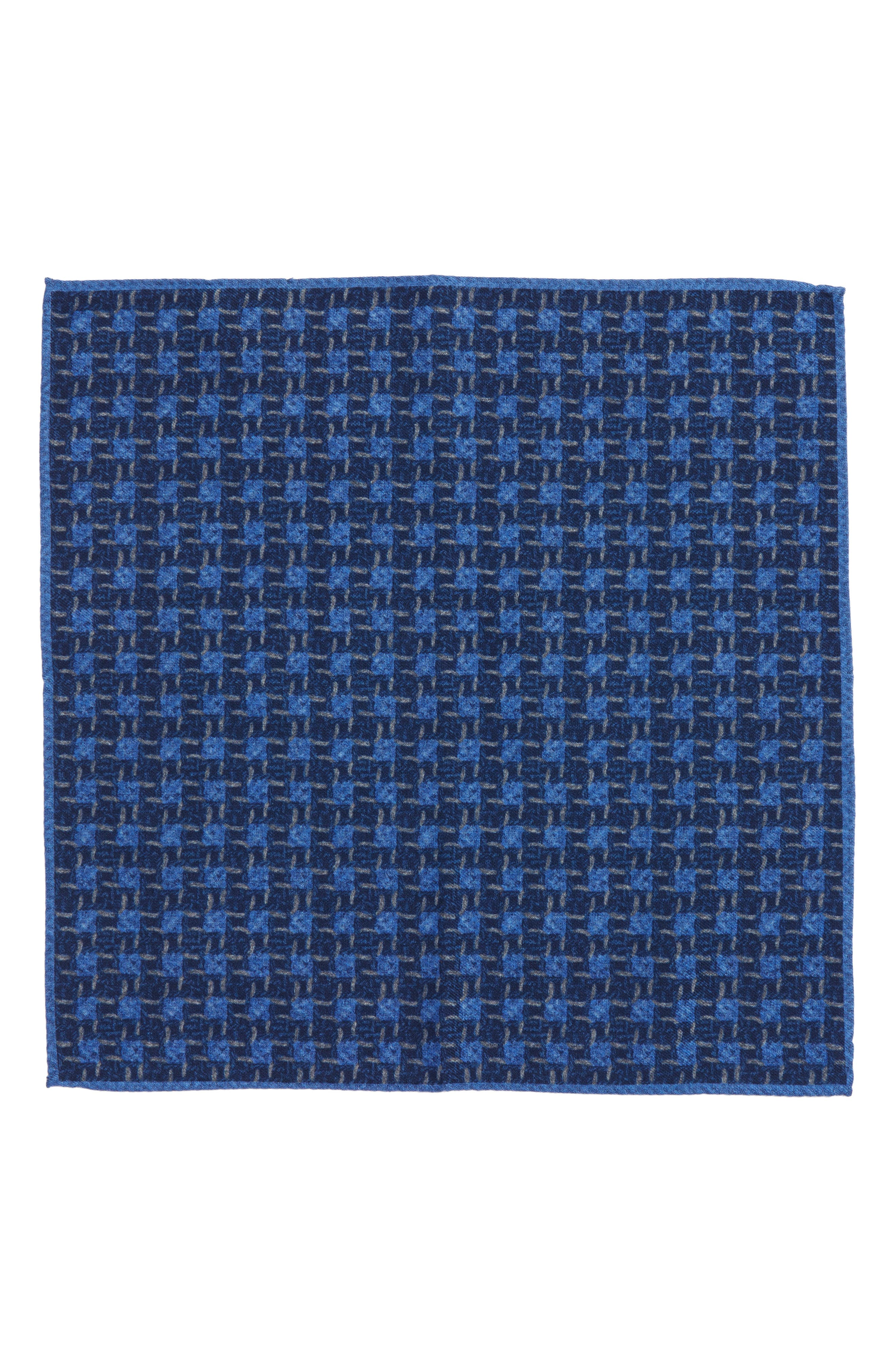 Grid Wool Pocket Square,                             Alternate thumbnail 2, color,