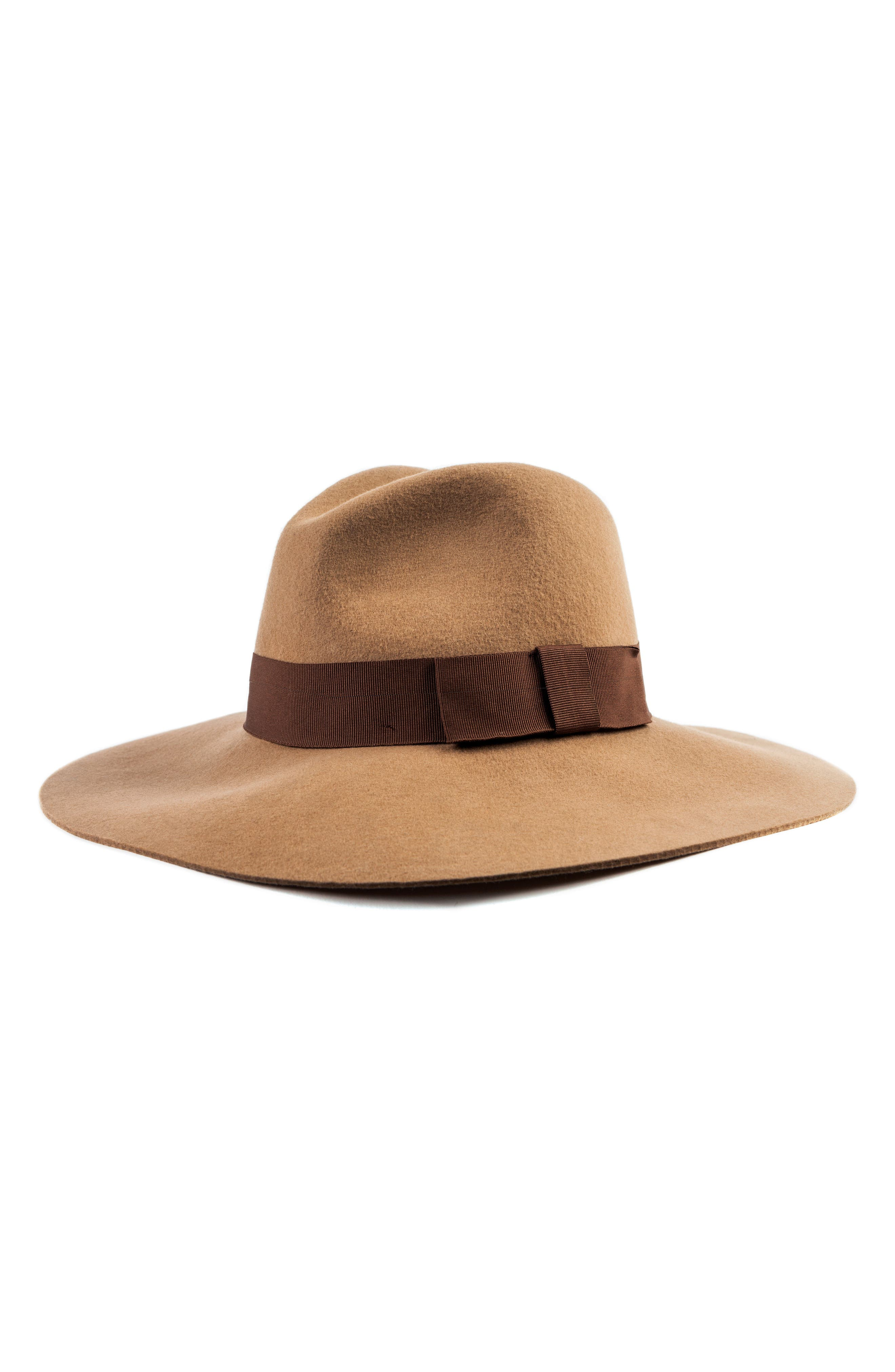 BRIXTON,                             'Piper' Floppy Wool Hat,                             Main thumbnail 1, color,                             TAN/ DARK BROWN