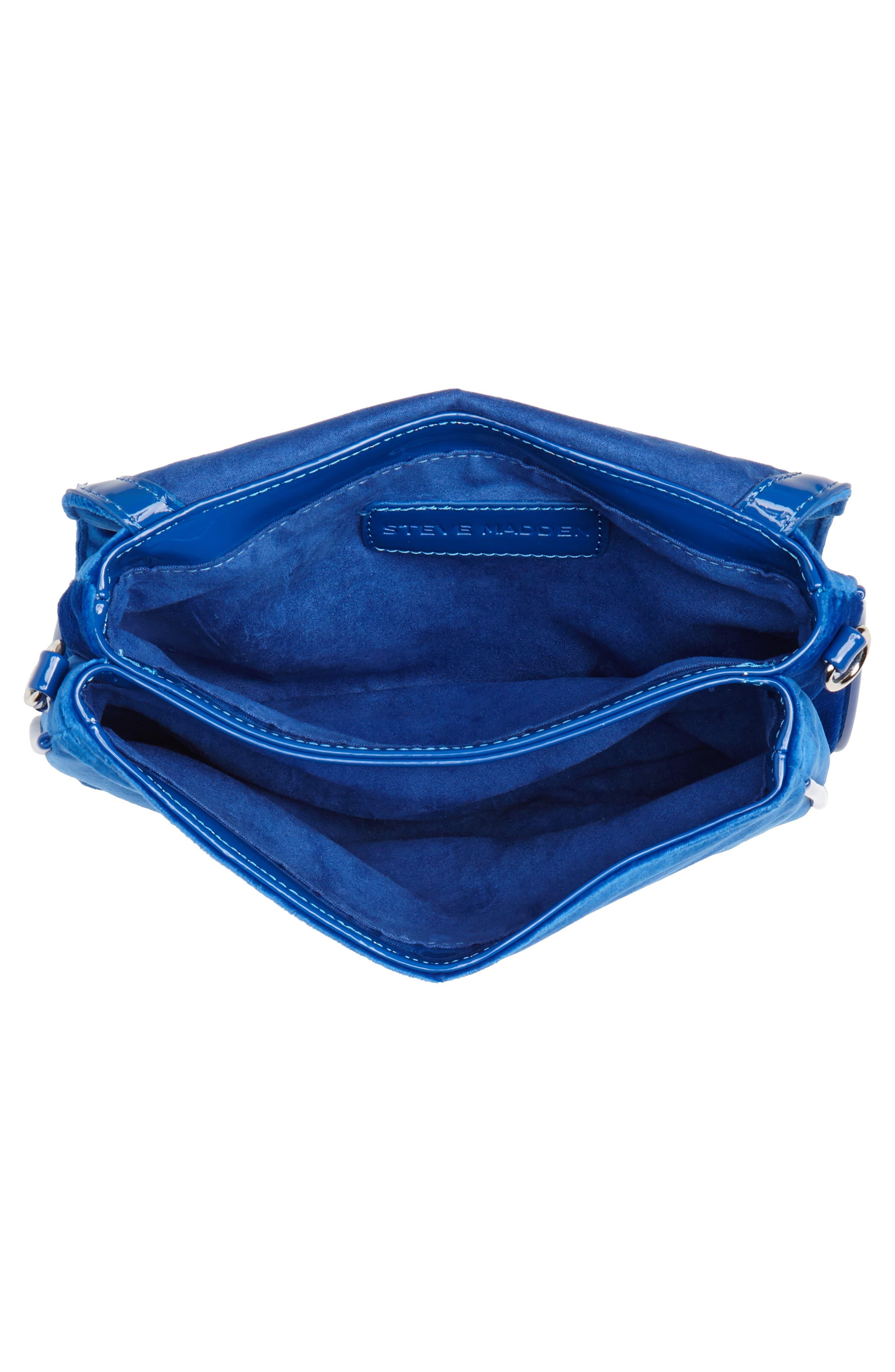 Velvet Crossbody Bag,                             Alternate thumbnail 4, color,                             BLUE
