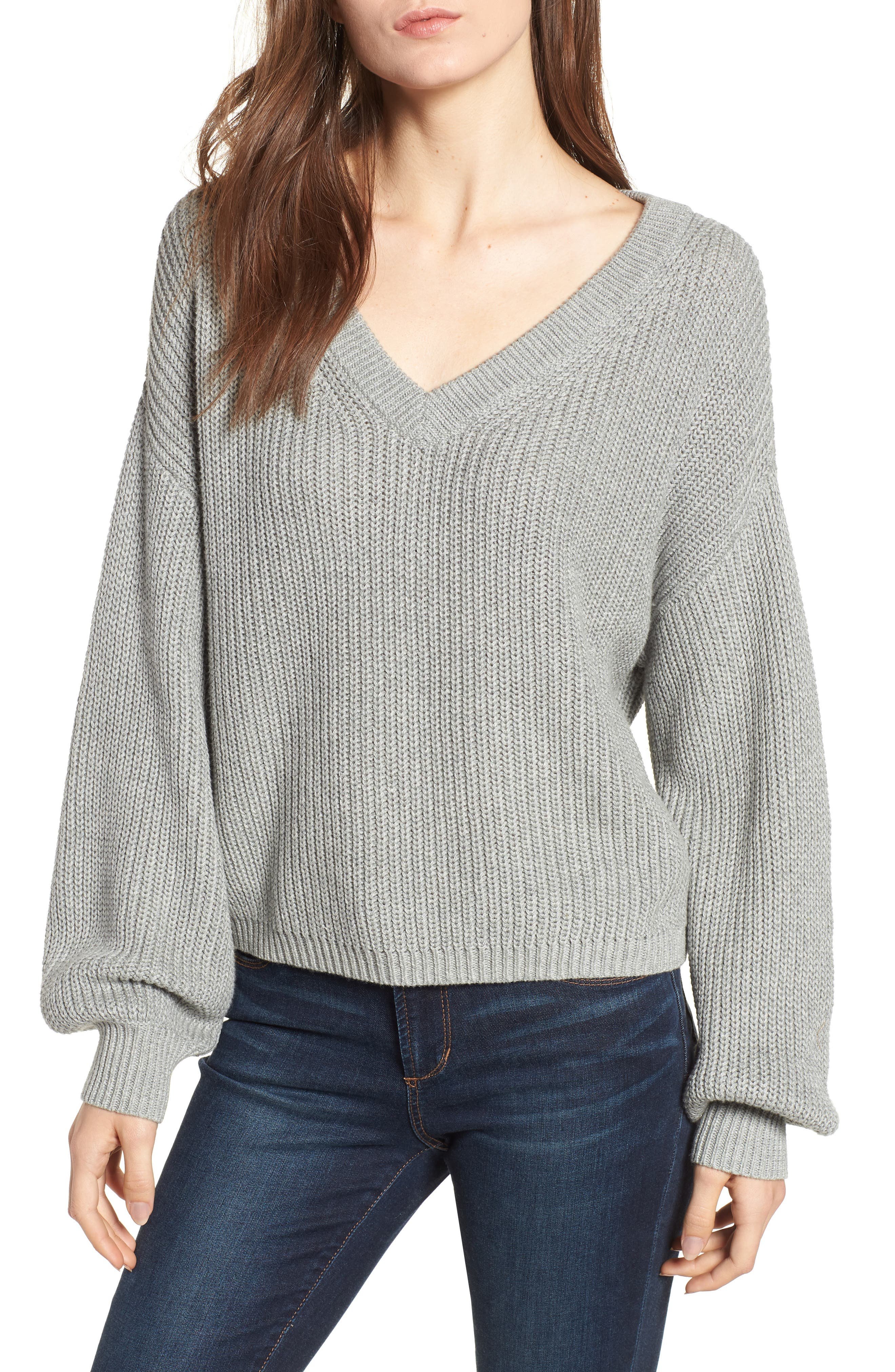 V Neck Cotton Sweater,                             Main thumbnail 1, color,                             030