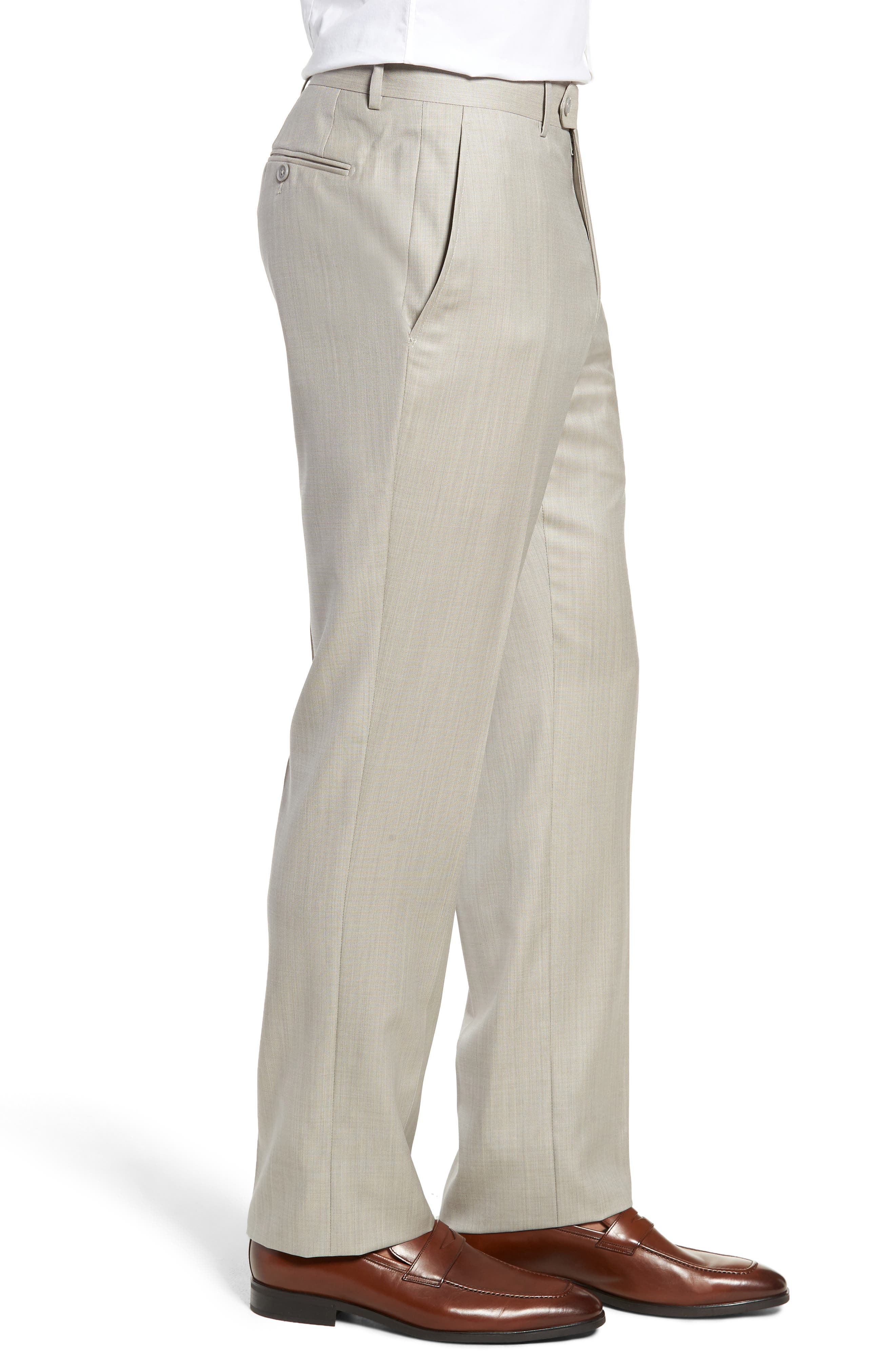 Flat Front Sharkskin Wool Trousers,                             Alternate thumbnail 3, color,                             SAND