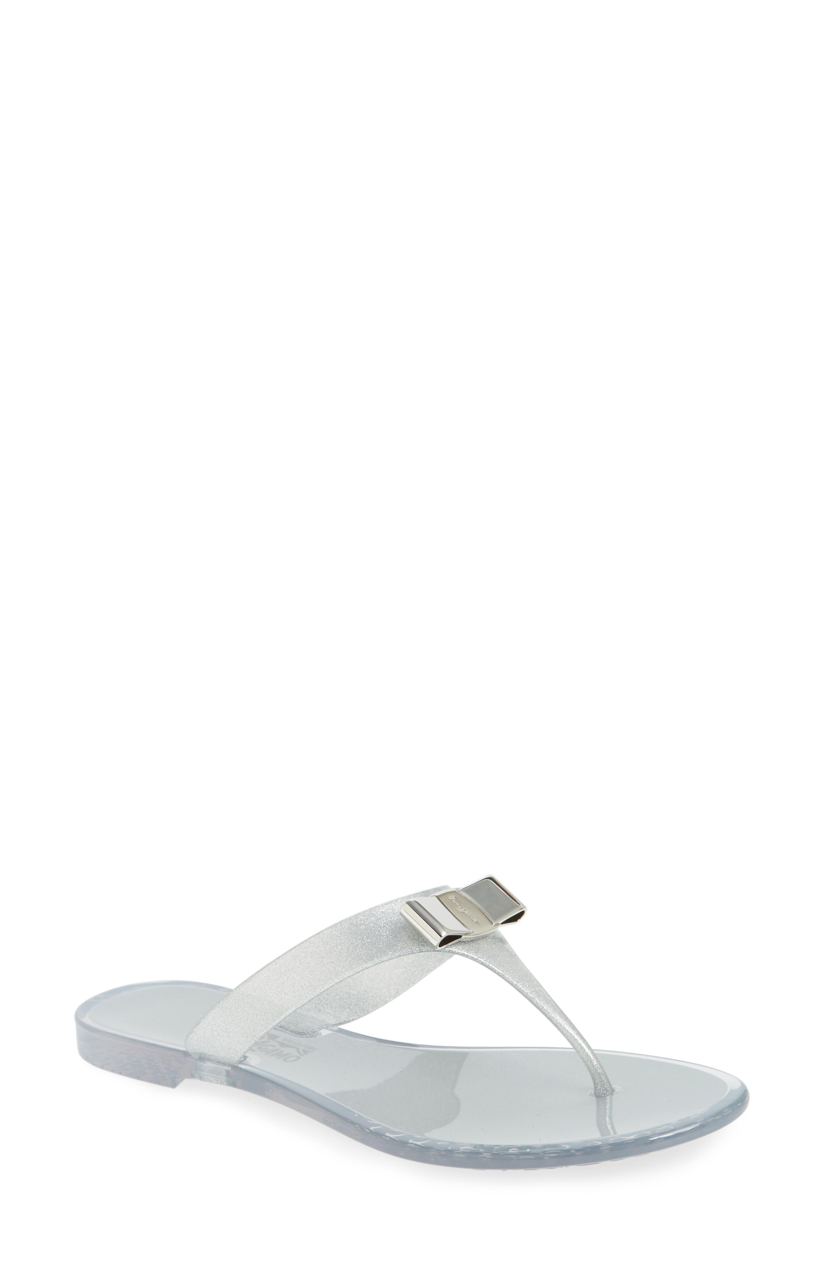 Farelia Jelly Flat Bow Flip Flop,                             Main thumbnail 1, color,                             SILVER GLITTER PVC