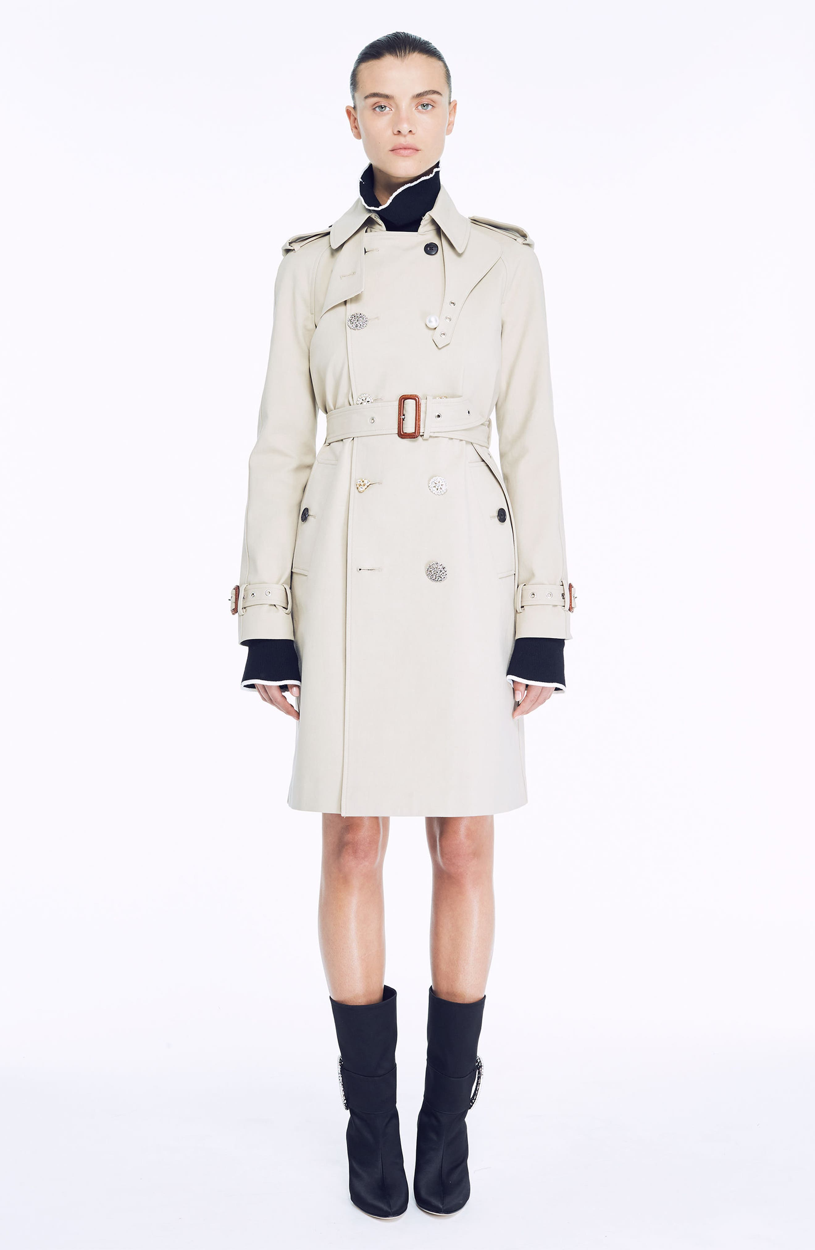Embellished Button Trench Coat,                             Alternate thumbnail 8, color,                             250