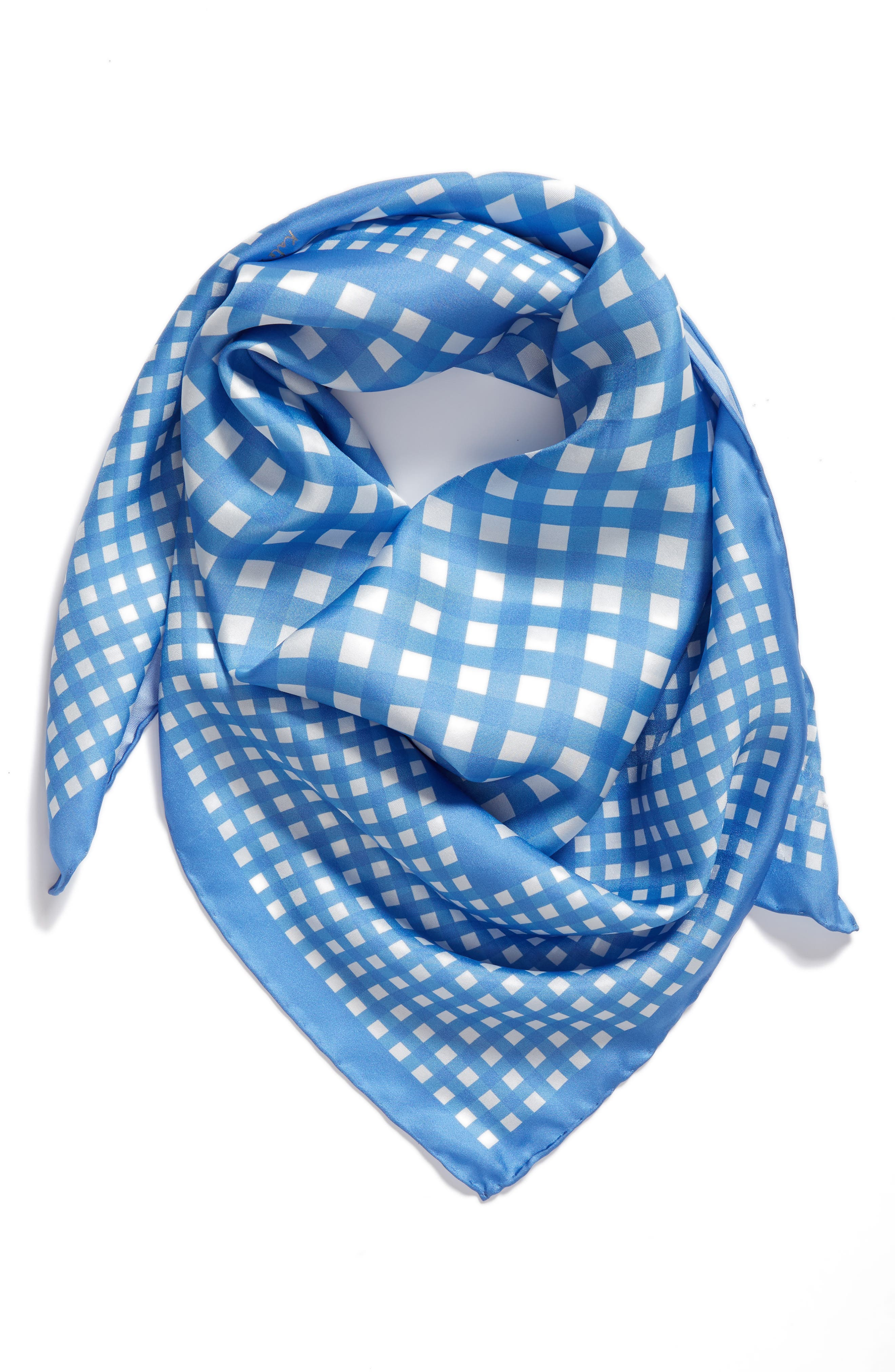 gingham square silk scarf,                             Alternate thumbnail 2, color,                             400