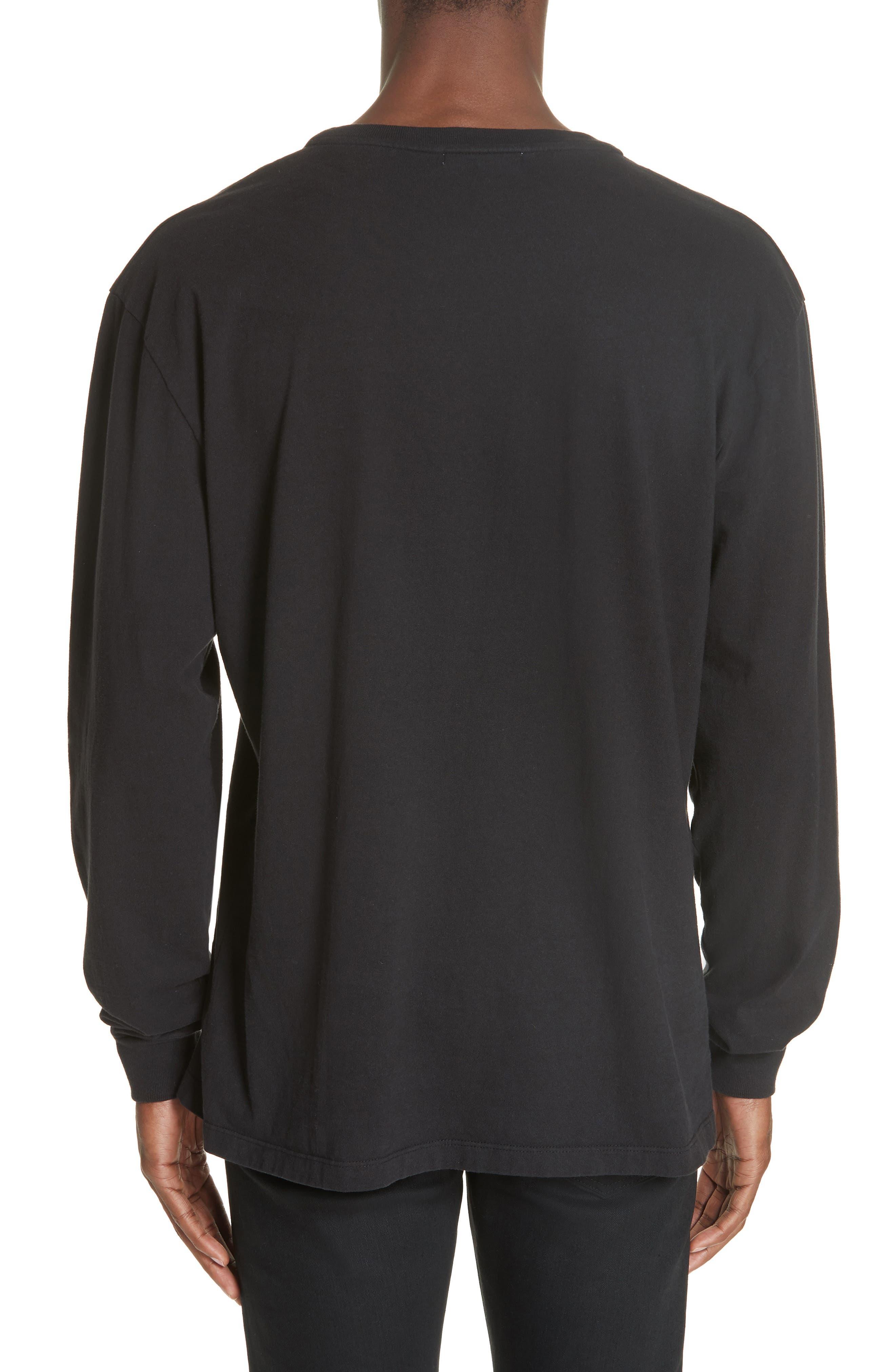 Long Sleeve Crewneck T-Shirt,                             Alternate thumbnail 2, color,                             BLACK