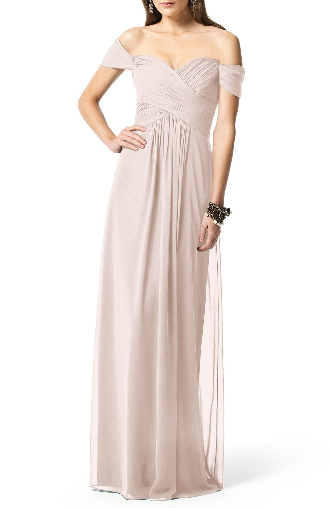 Dessy Collection Ruched Chiffon Gown, Pink
