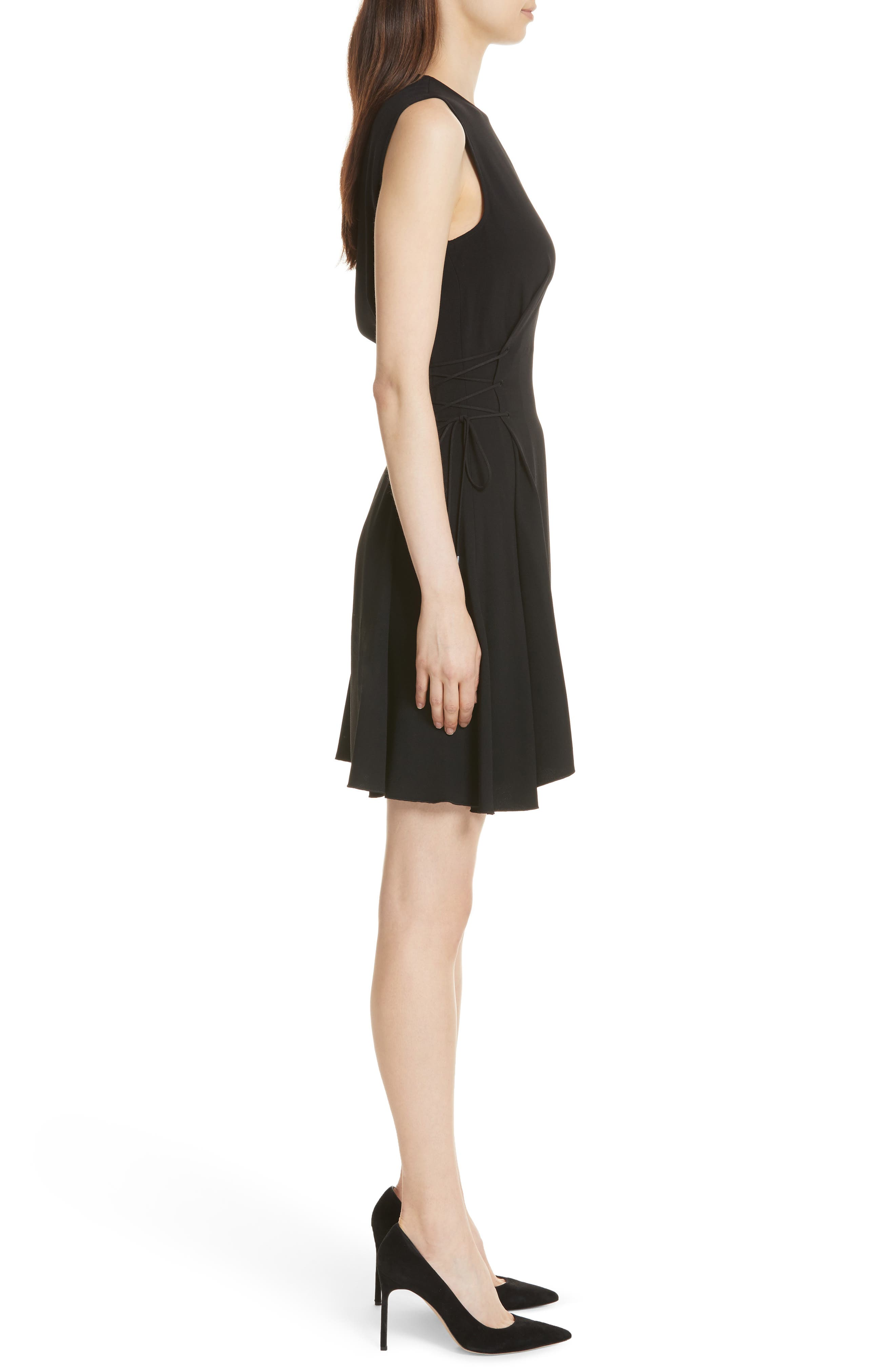 Lace-Up Fit & Flare Dress,                             Alternate thumbnail 3, color,                             001