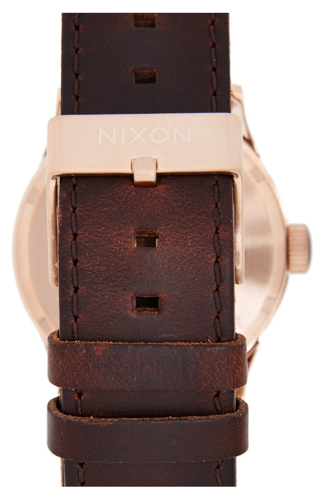 NIXON,                             'The Sentry' Leather Strap Watch, 42mm,                             Alternate thumbnail 5, color,                             BROWN/ ROSE GOLD/ GUNMETAL