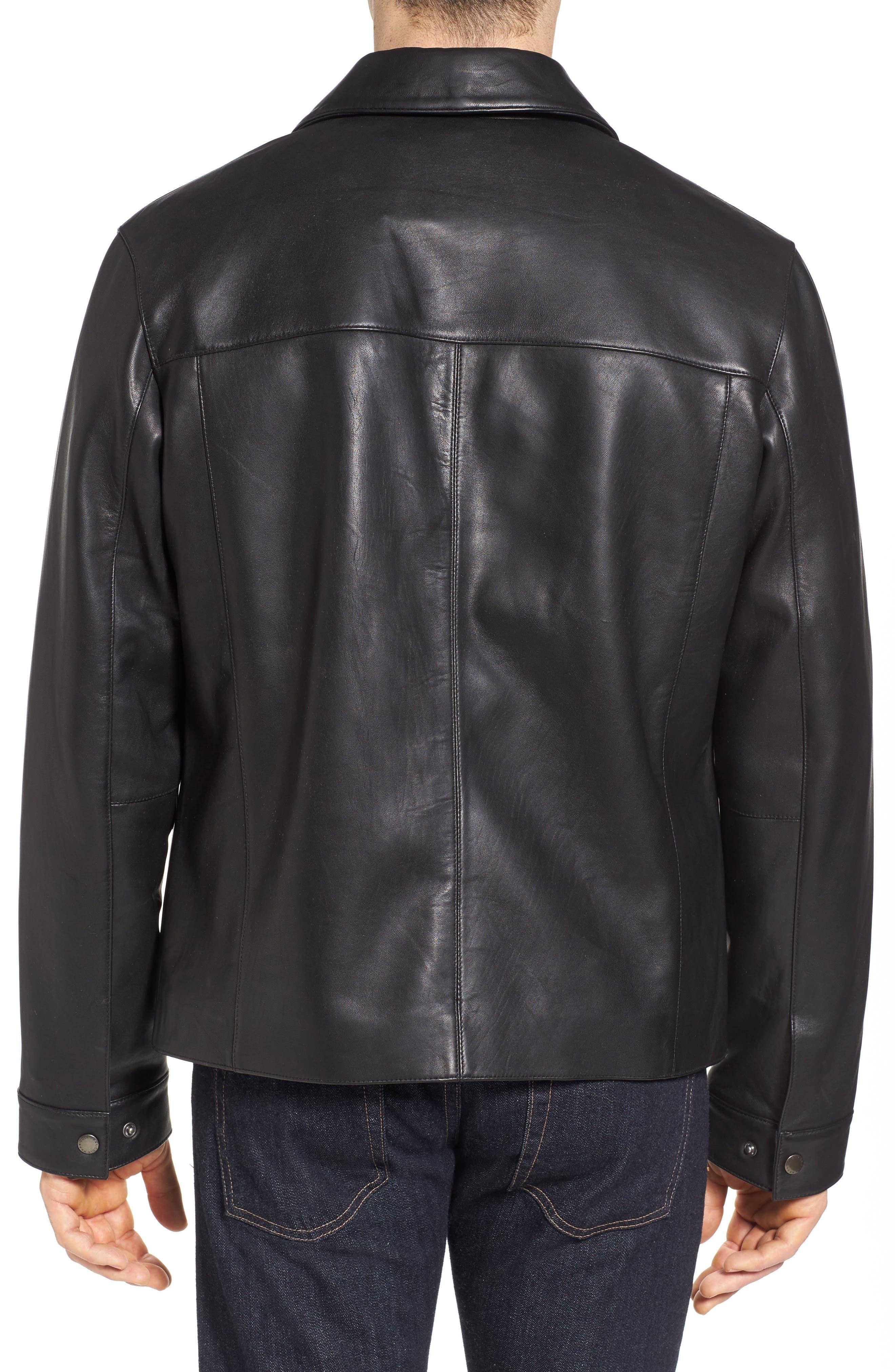 Regular Fit Leather Jacket,                             Alternate thumbnail 2, color,                             BLACK