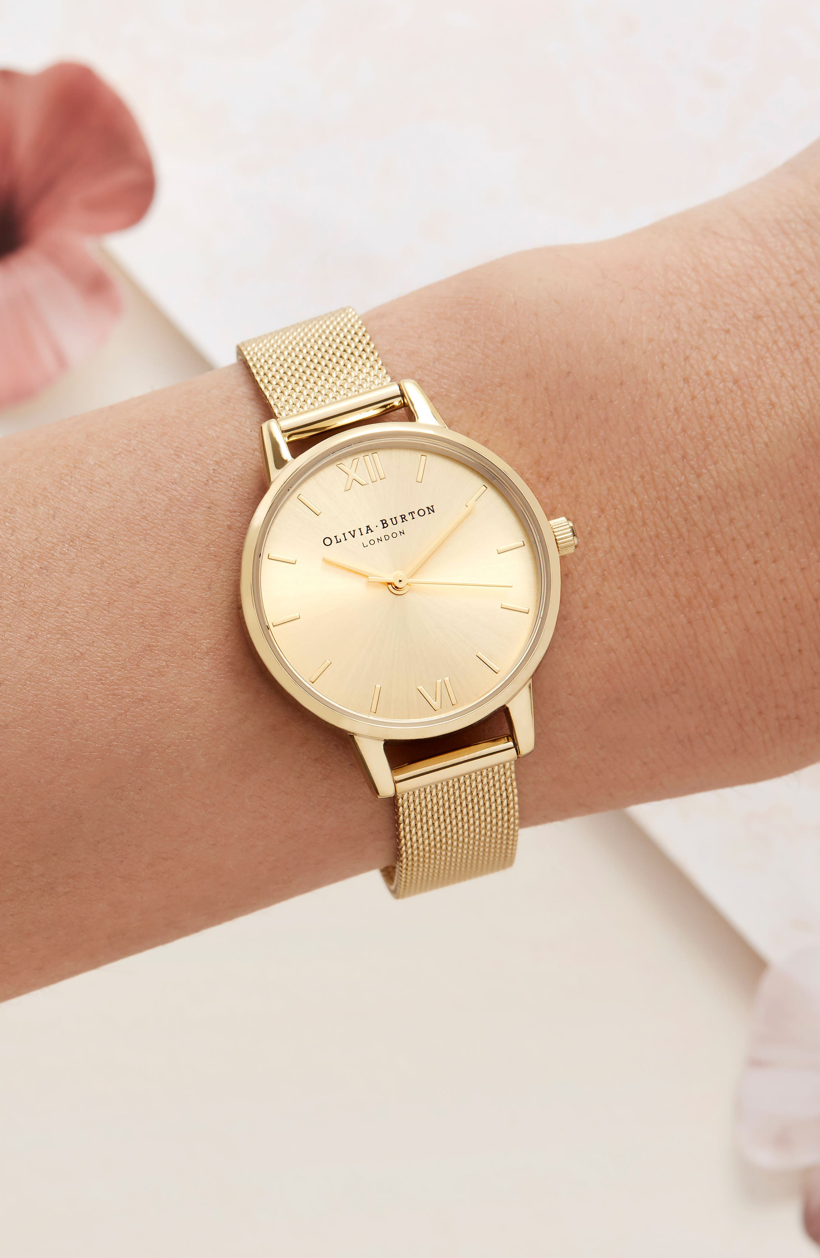 Sunray Mesh Strap Watch, 30mm,                             Alternate thumbnail 2, color,                             GOLD