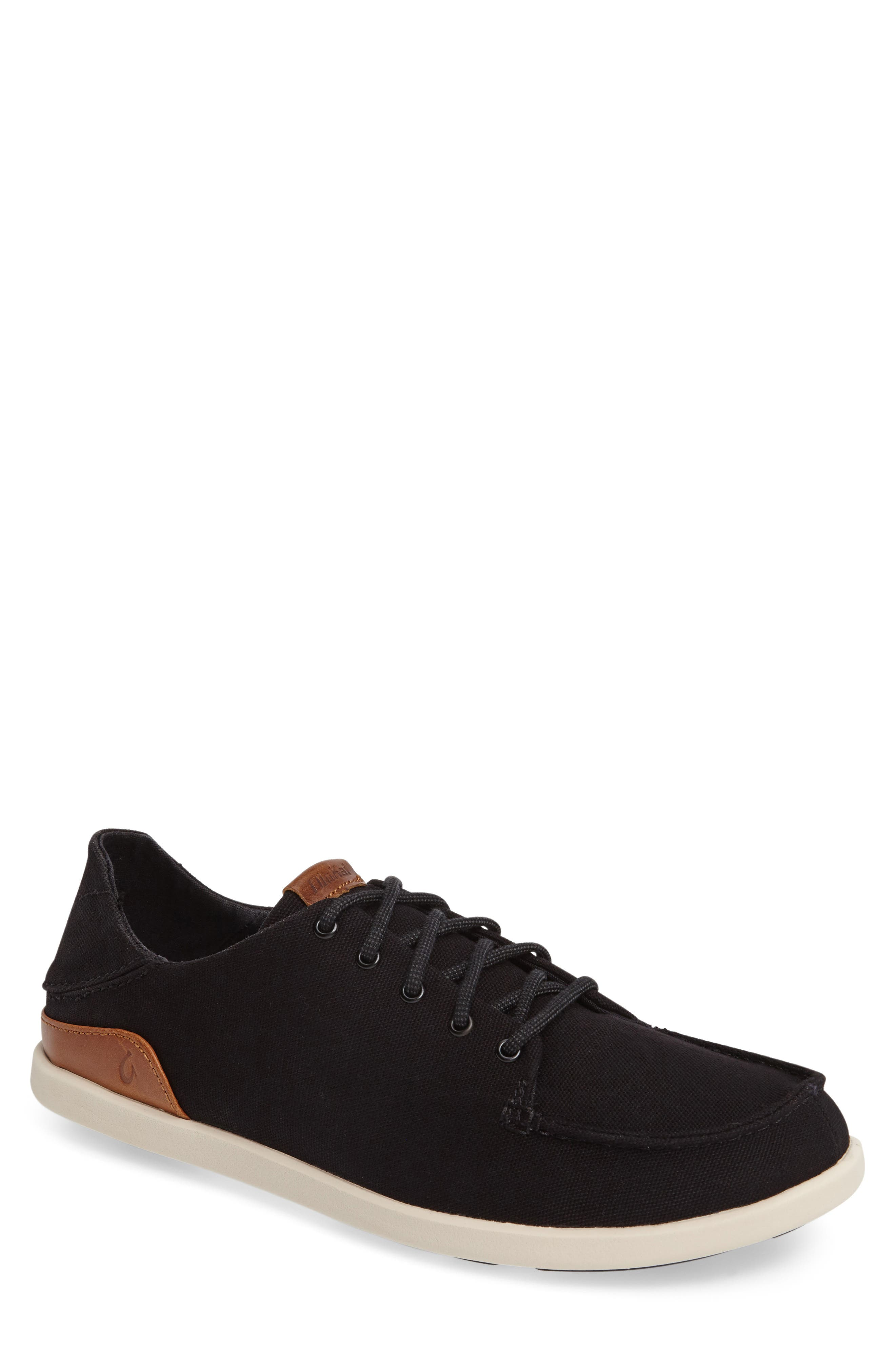Manoa Sneaker,                         Main,                         color, BLACK/ MUSTARD