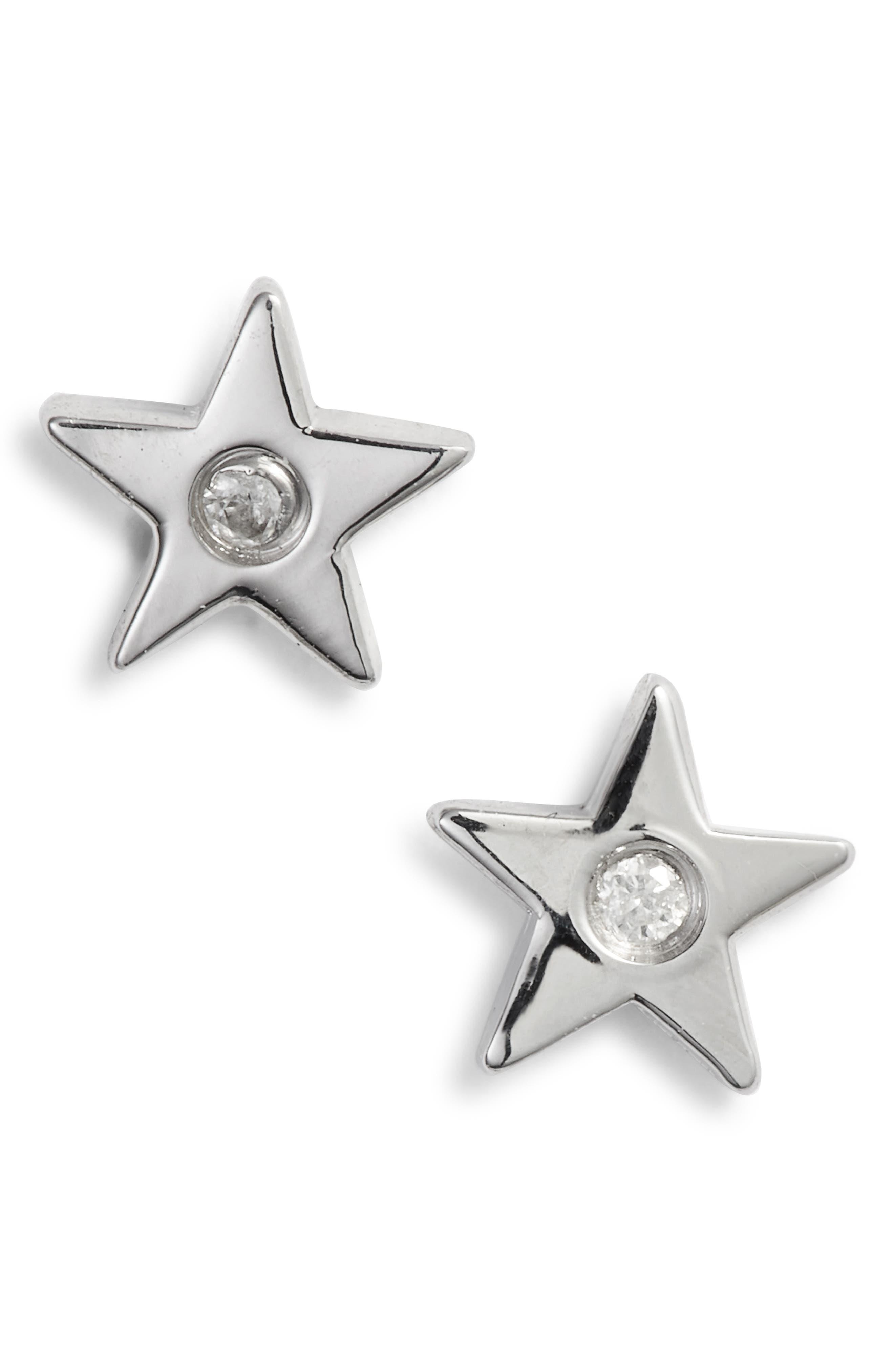 Star Stud Earrings,                             Alternate thumbnail 2, color,                             SILVER