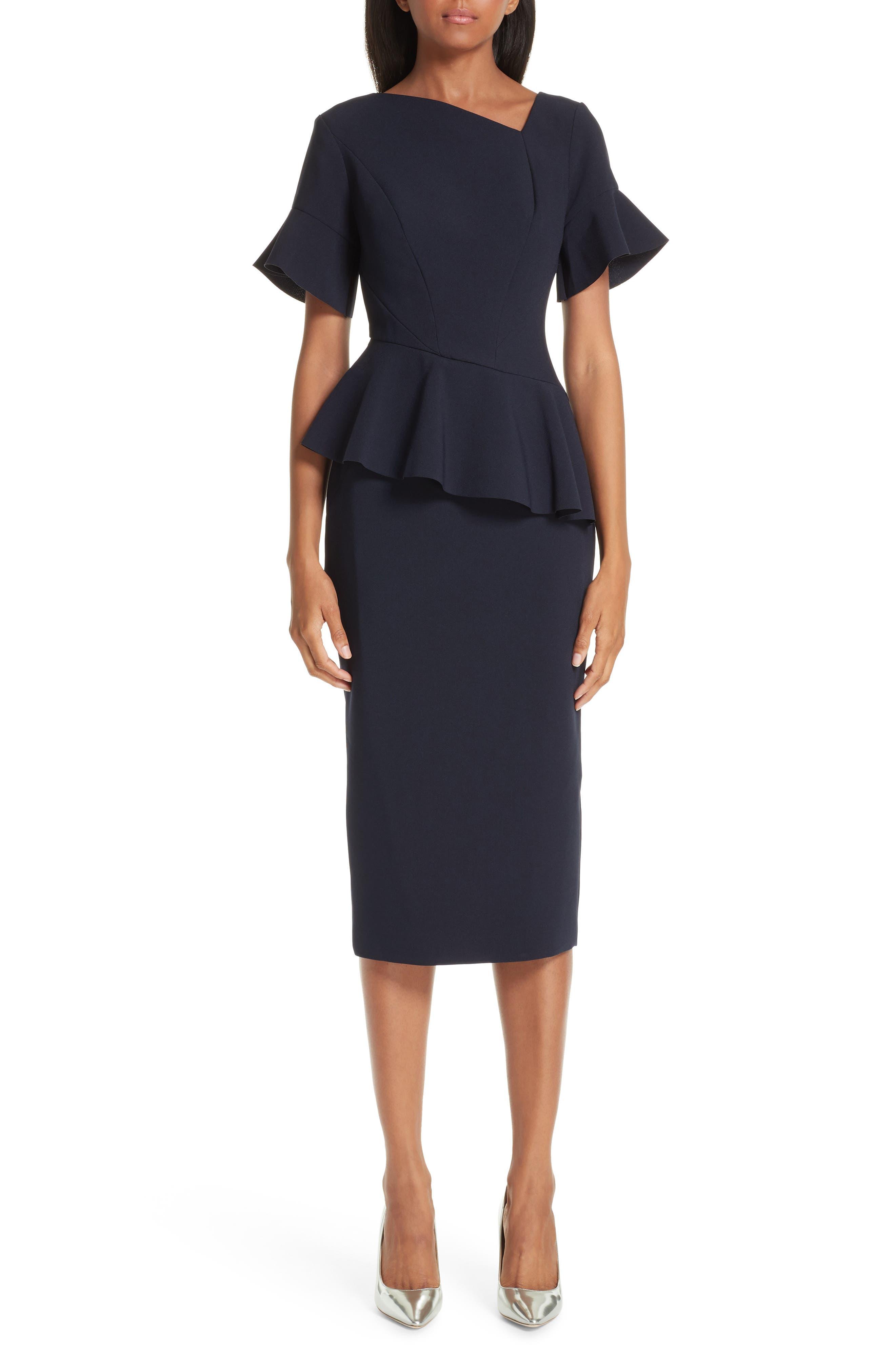 RACHEL GILBERT,                             Farah Peplum Dress,                             Main thumbnail 1, color,                             495