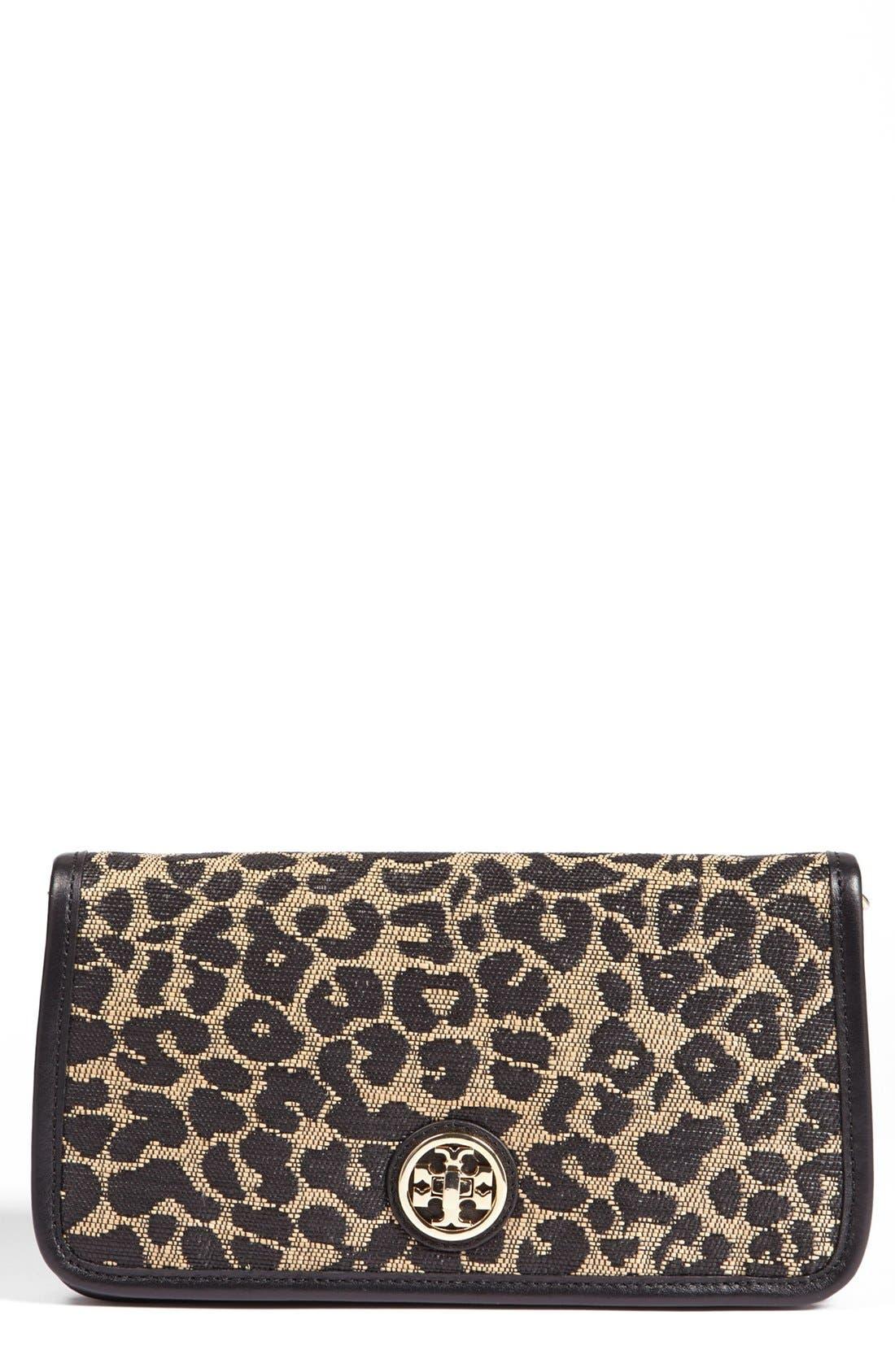 'Adalyn' Leopard Raffia Clutch, Main, color, 001